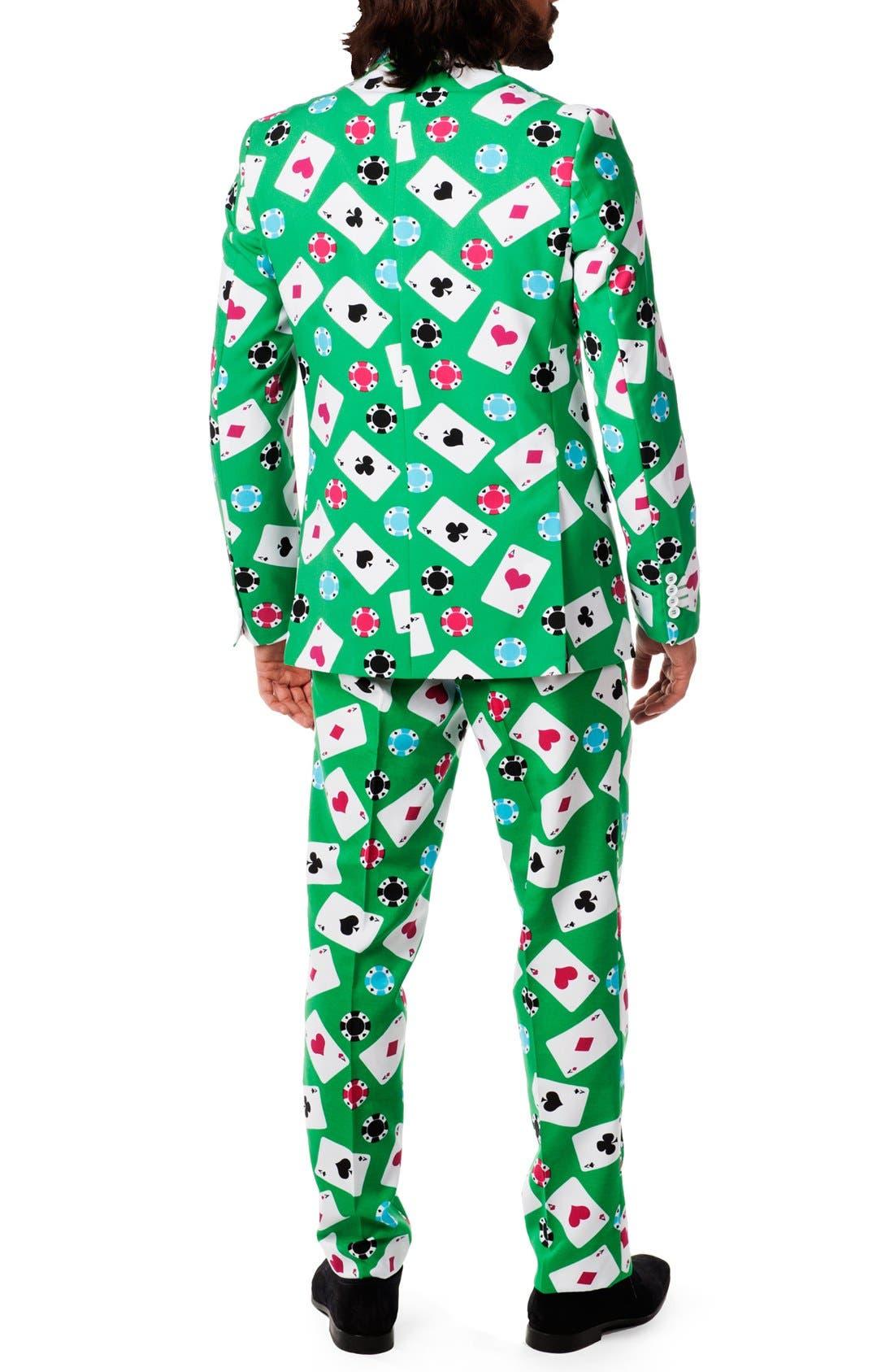 'Poker Face' Trim Fit Suit with Tie,                             Alternate thumbnail 2, color,                             300