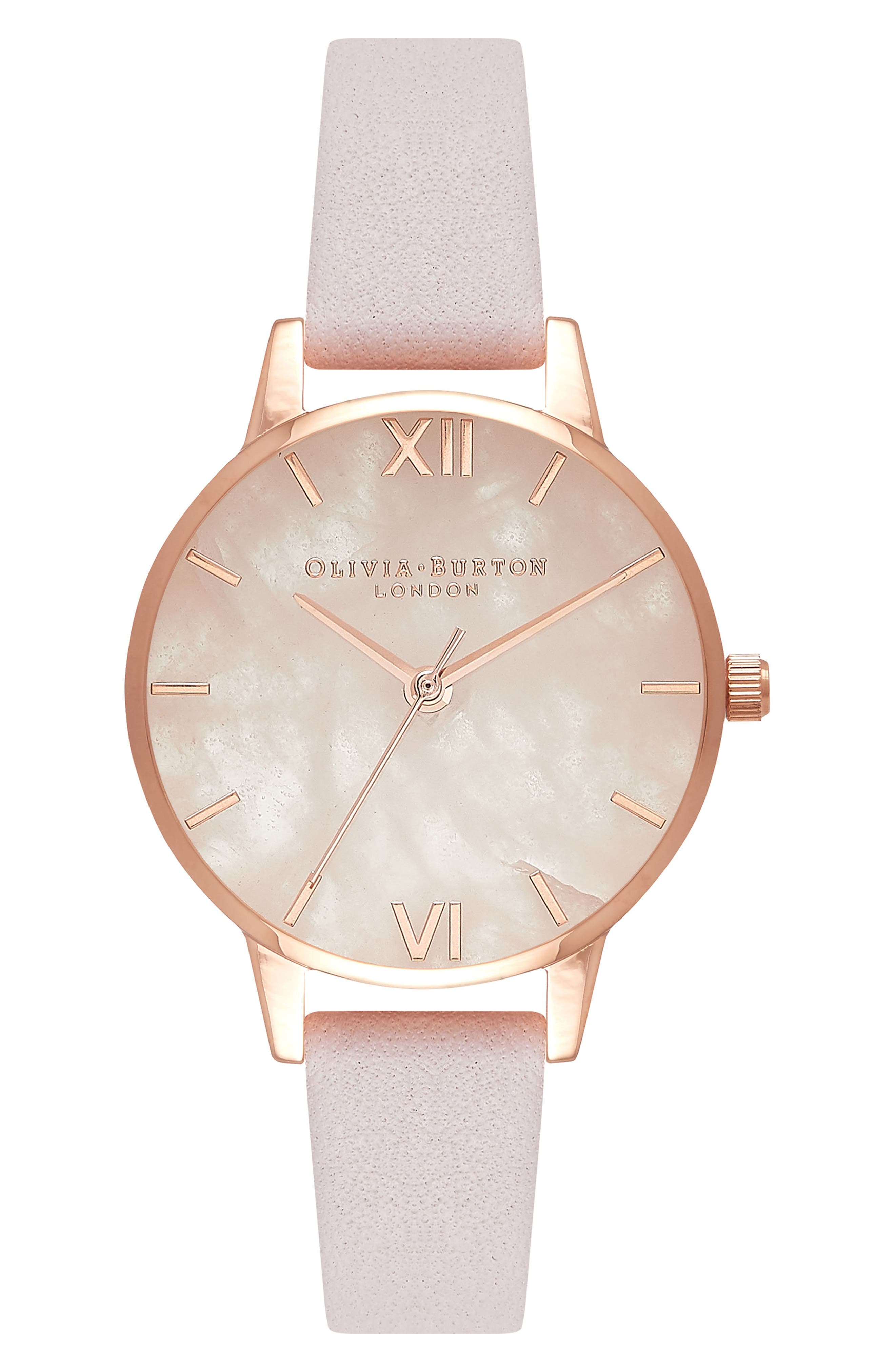 Leather Strap Watch, 30mm,                         Main,                         color, BLOSSOM/ ROSE/ ROSE GOLD