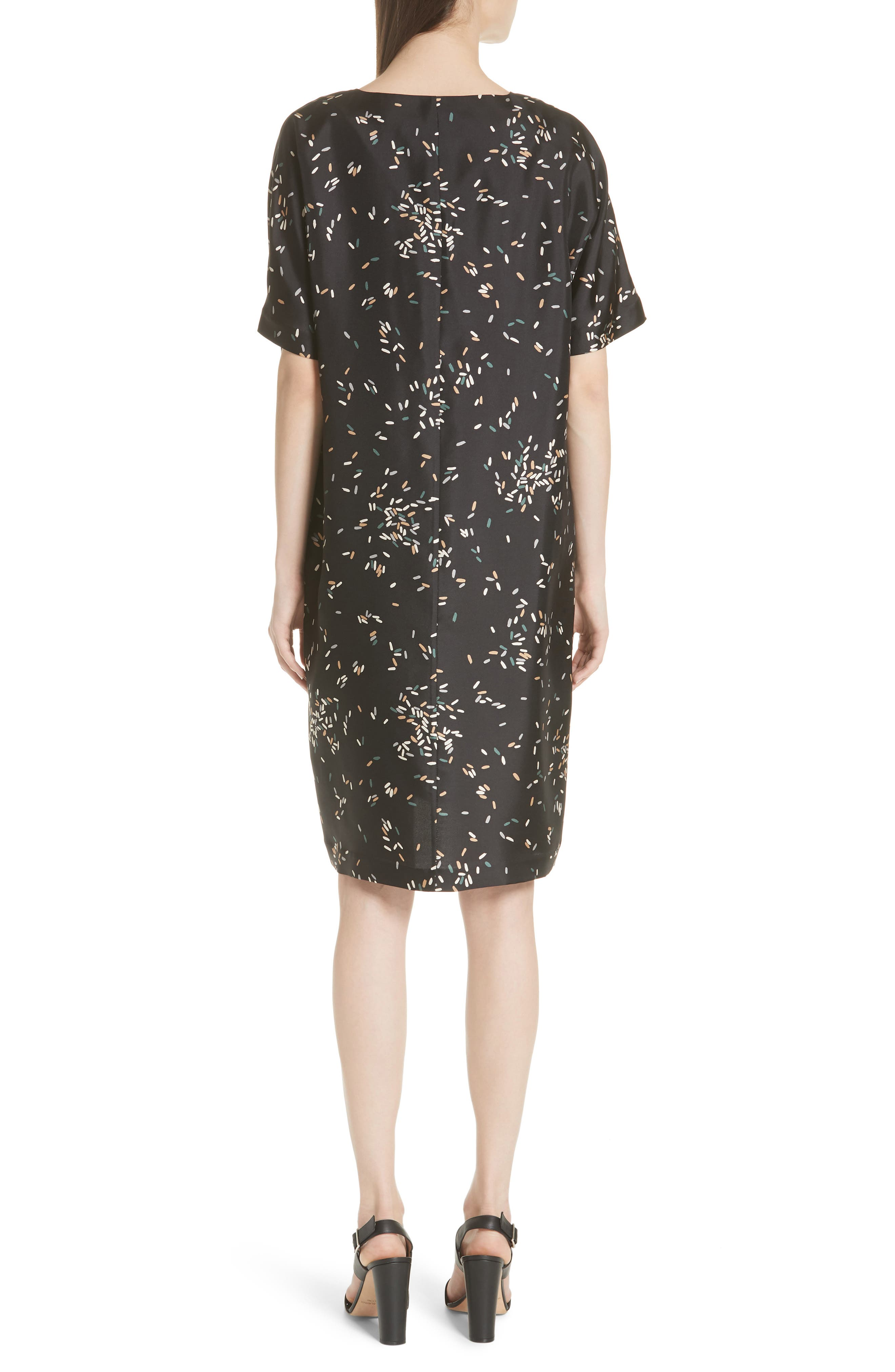 Thoren Silk Dress,                             Alternate thumbnail 2, color,                             BLACK MULTI