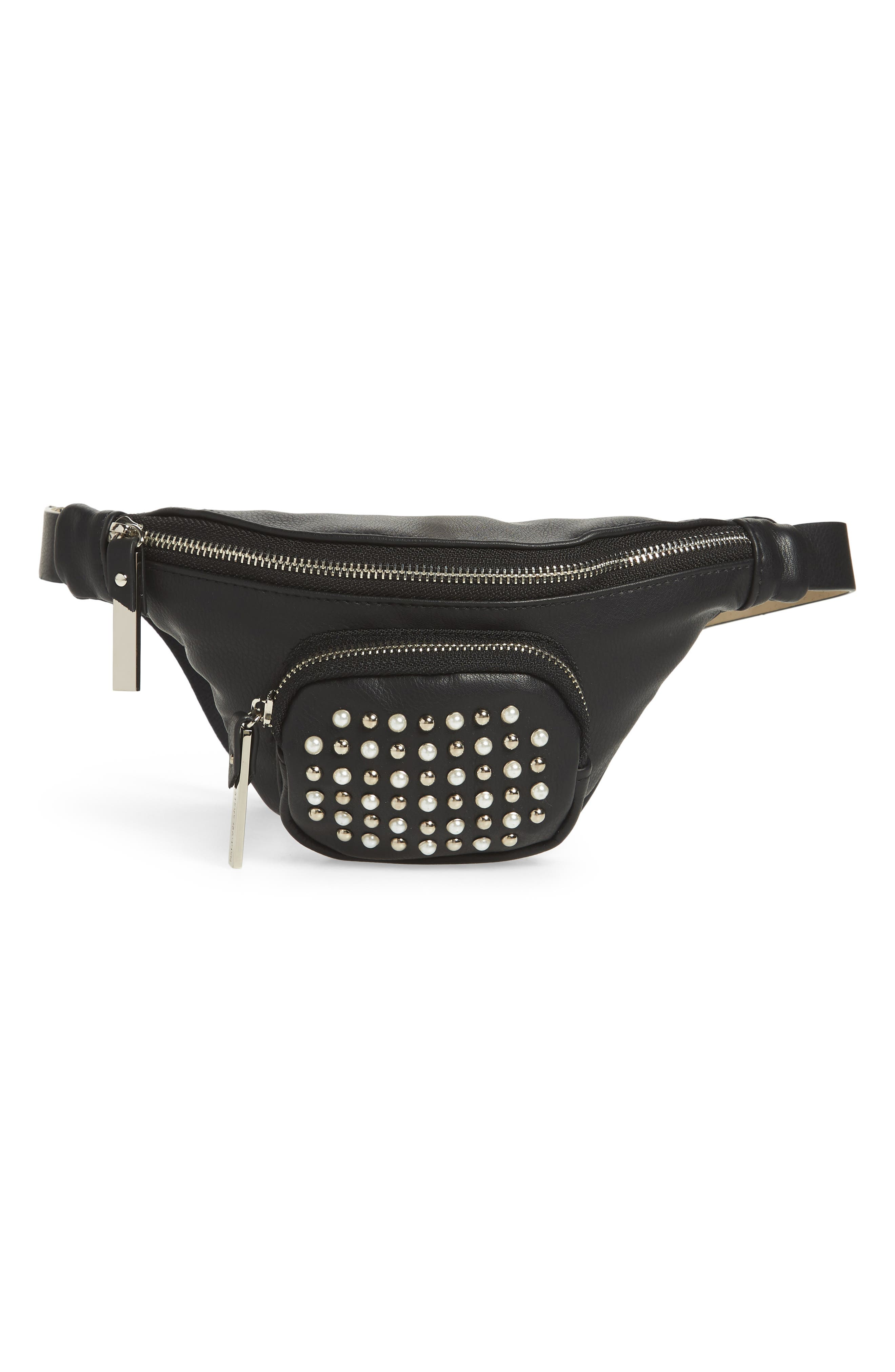 Stud & Imitation Pearl Belt Bag,                             Main thumbnail 1, color,                             002