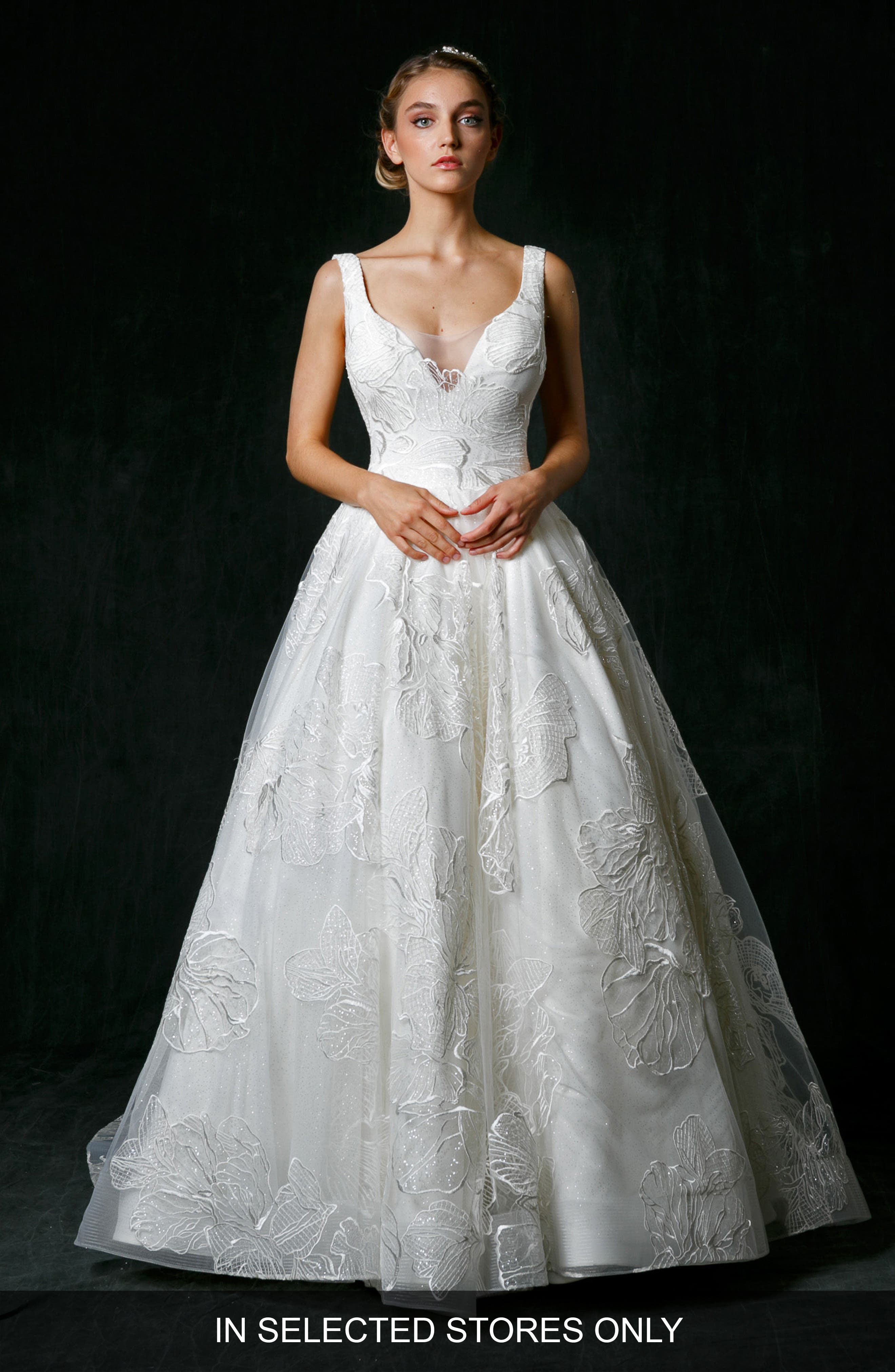 Alessandra Plunge Ballgown,                             Main thumbnail 1, color,                             IVORY