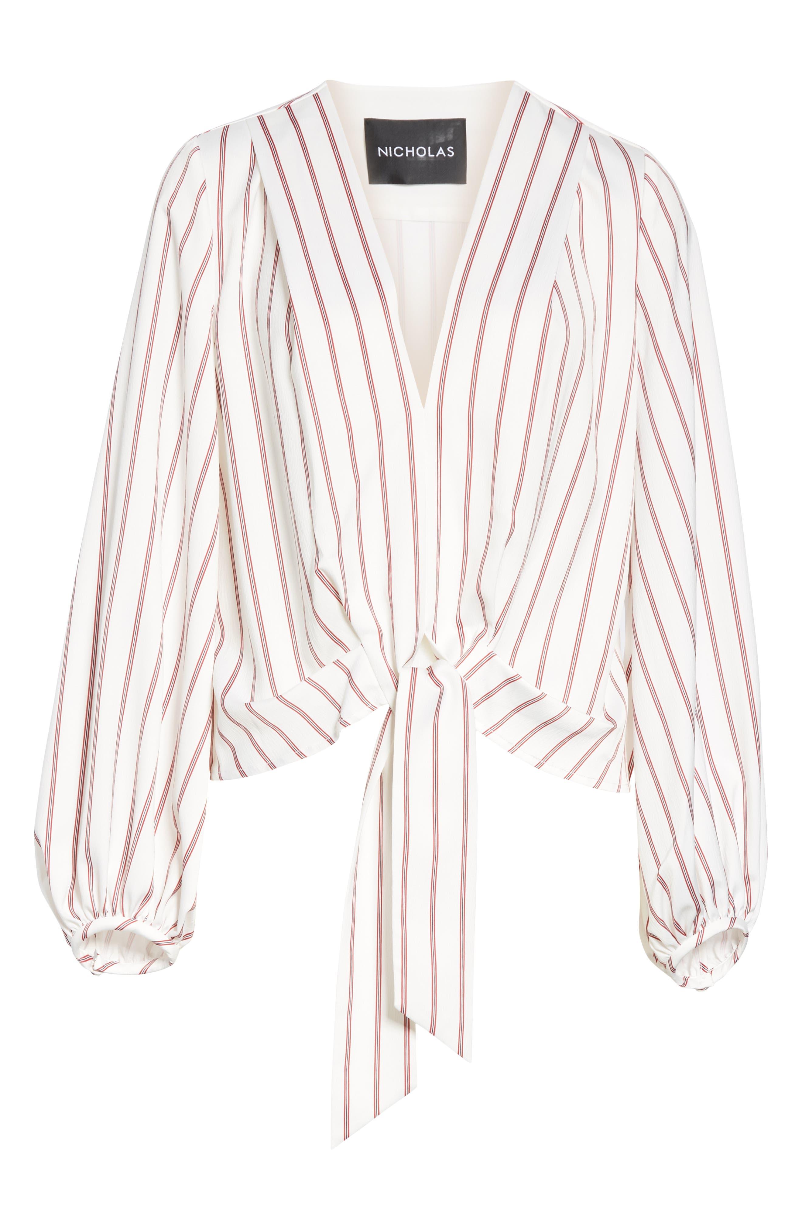 NICHOLAS,                             Stripe Panel Skirt,                             Alternate thumbnail 6, color,                             WHITE/ RED