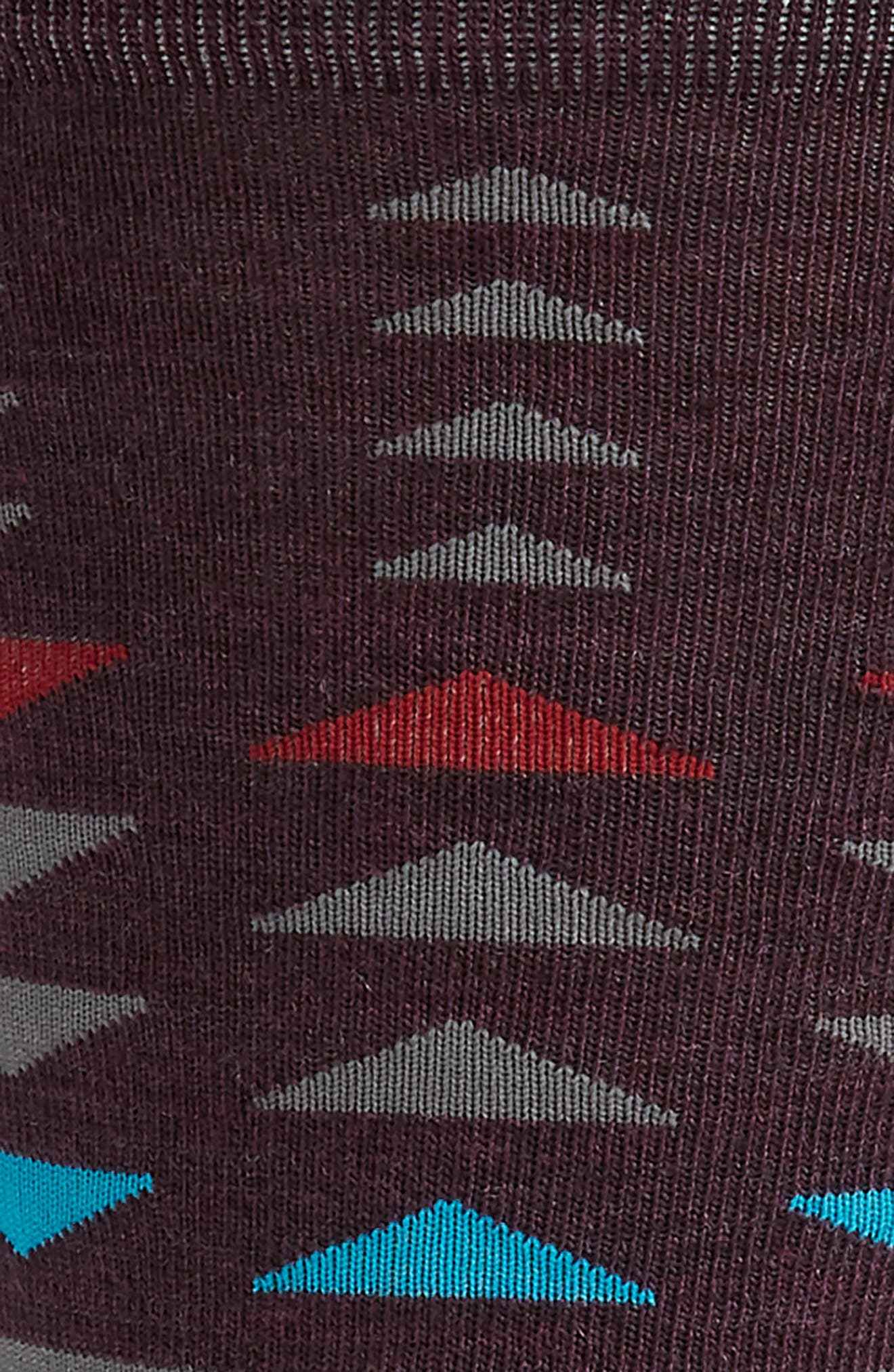 Burgee Geometric Socks,                             Alternate thumbnail 2, color,                             BORDEAUX HEATHER