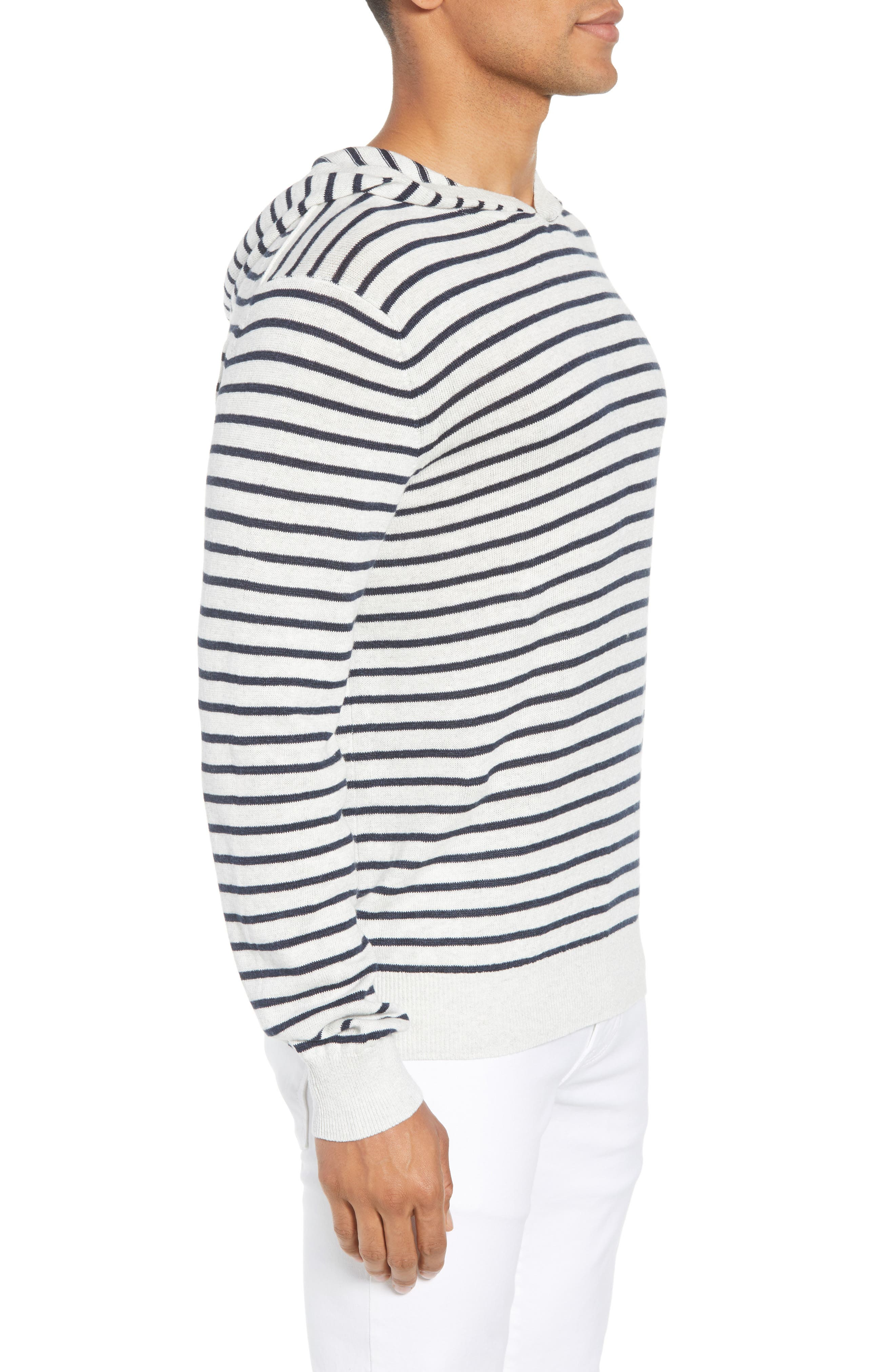Stripe Hoodie,                             Alternate thumbnail 3, color,                             H WHITE/ H NEW COASTAL