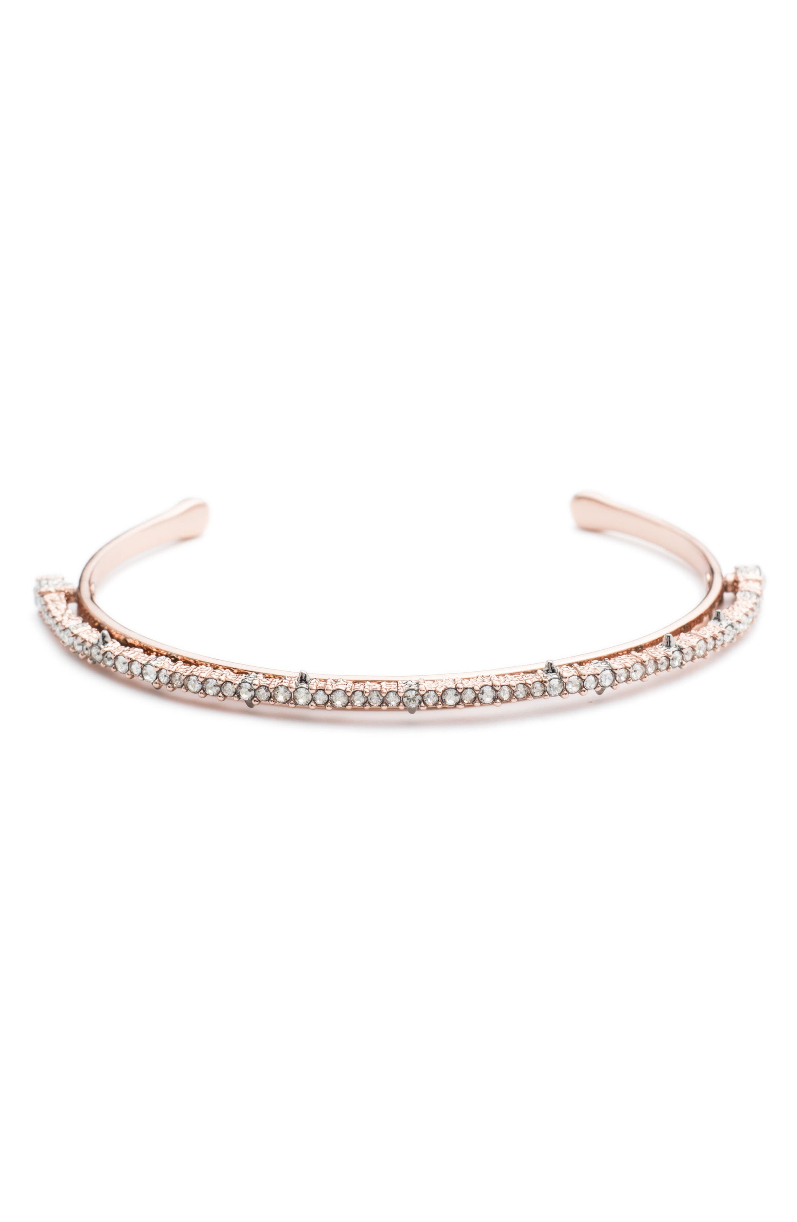 Crystal Lace Orbiting Wrist Cuff,                             Main thumbnail 1, color,                             ROSE GOLD
