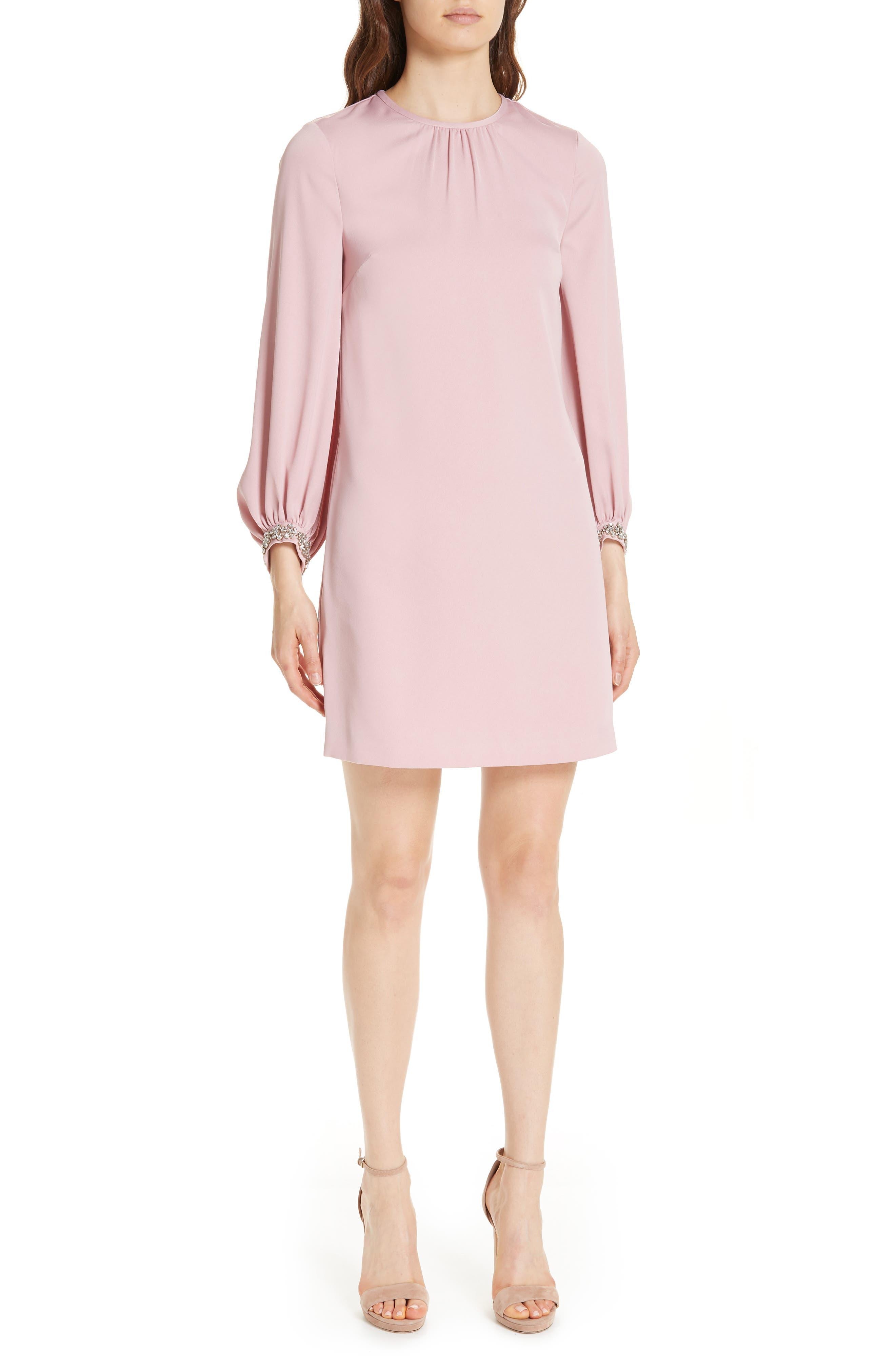 Joele Embellished Cuff Shift Dress,                         Main,                         color, DUSKY PINK