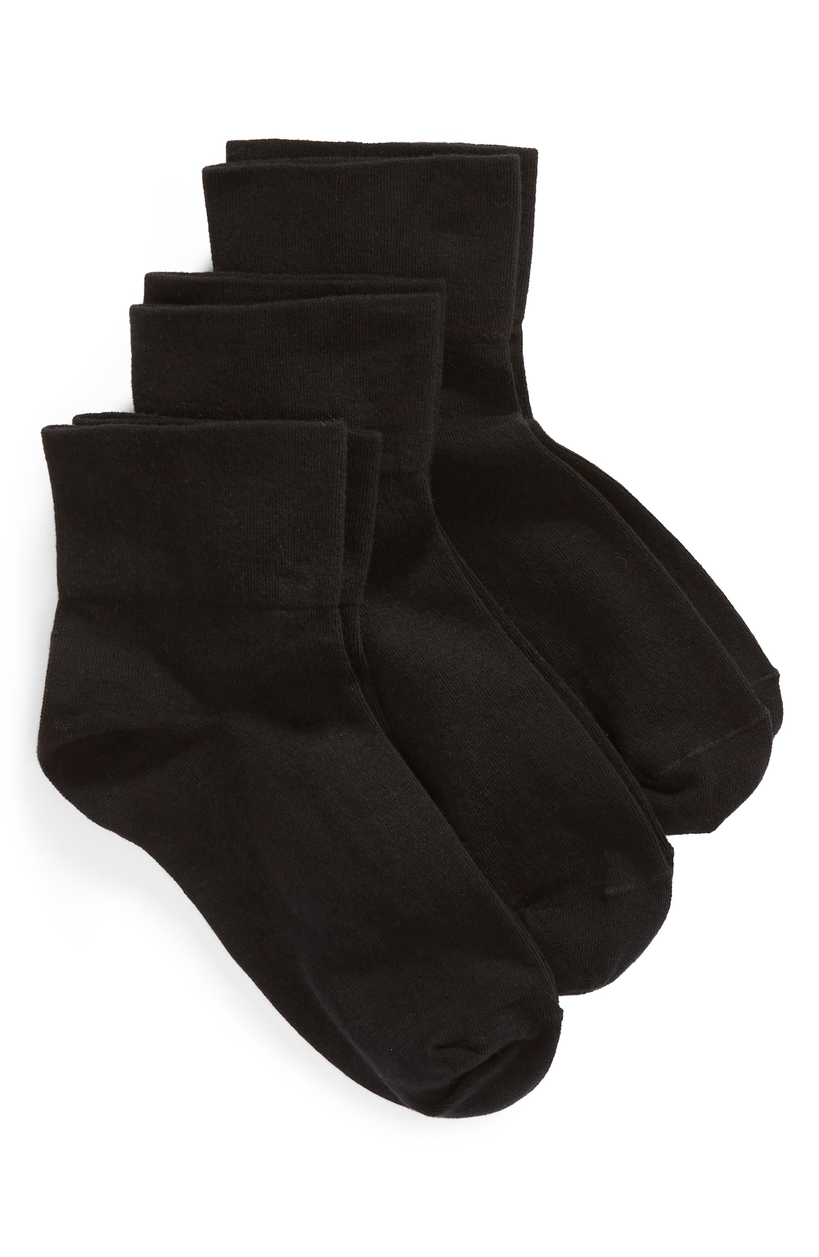 Everyday 3-Pack Ankle Socks,                             Main thumbnail 1, color,                             BLACK