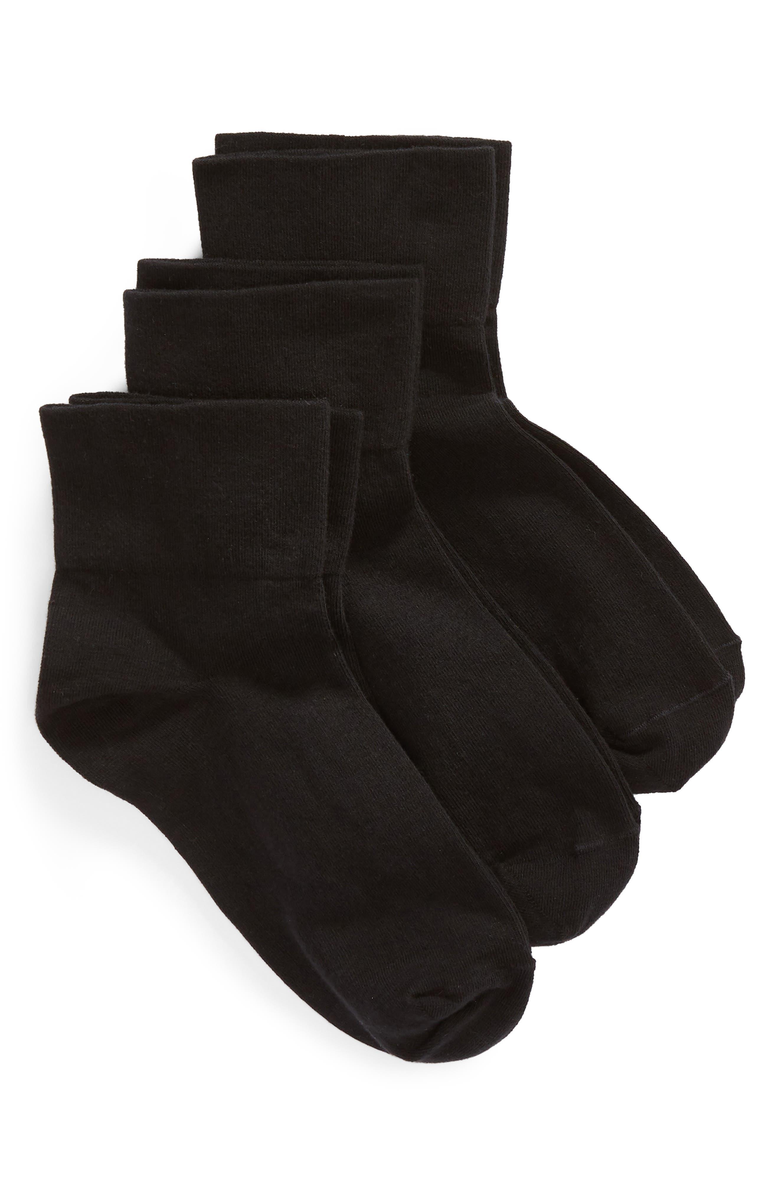 Everyday 3-Pack Ankle Socks,                         Main,                         color, BLACK
