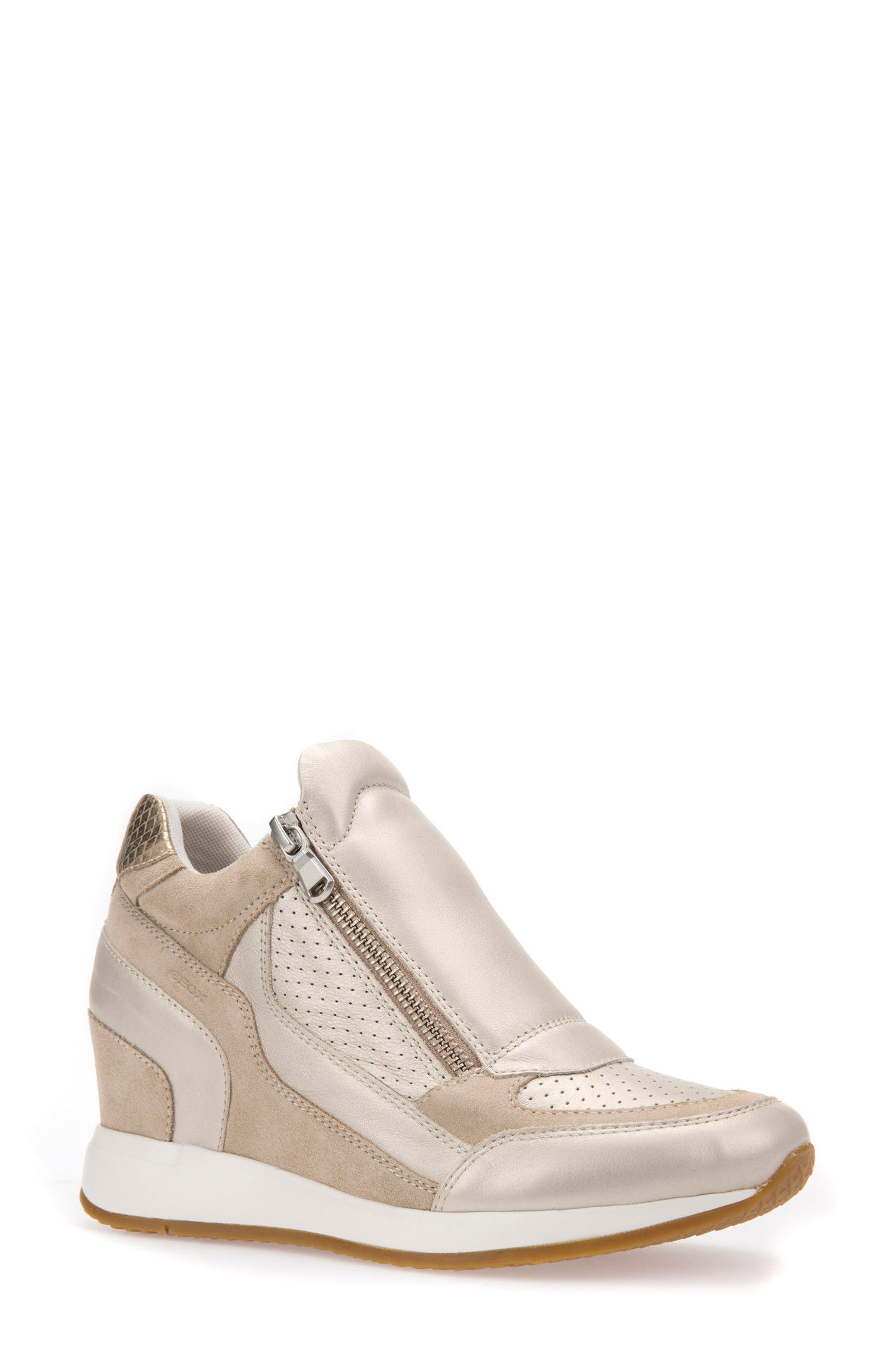 Nydame Wedge Sneaker,                         Main,                         color, PLATINUM LEATHER