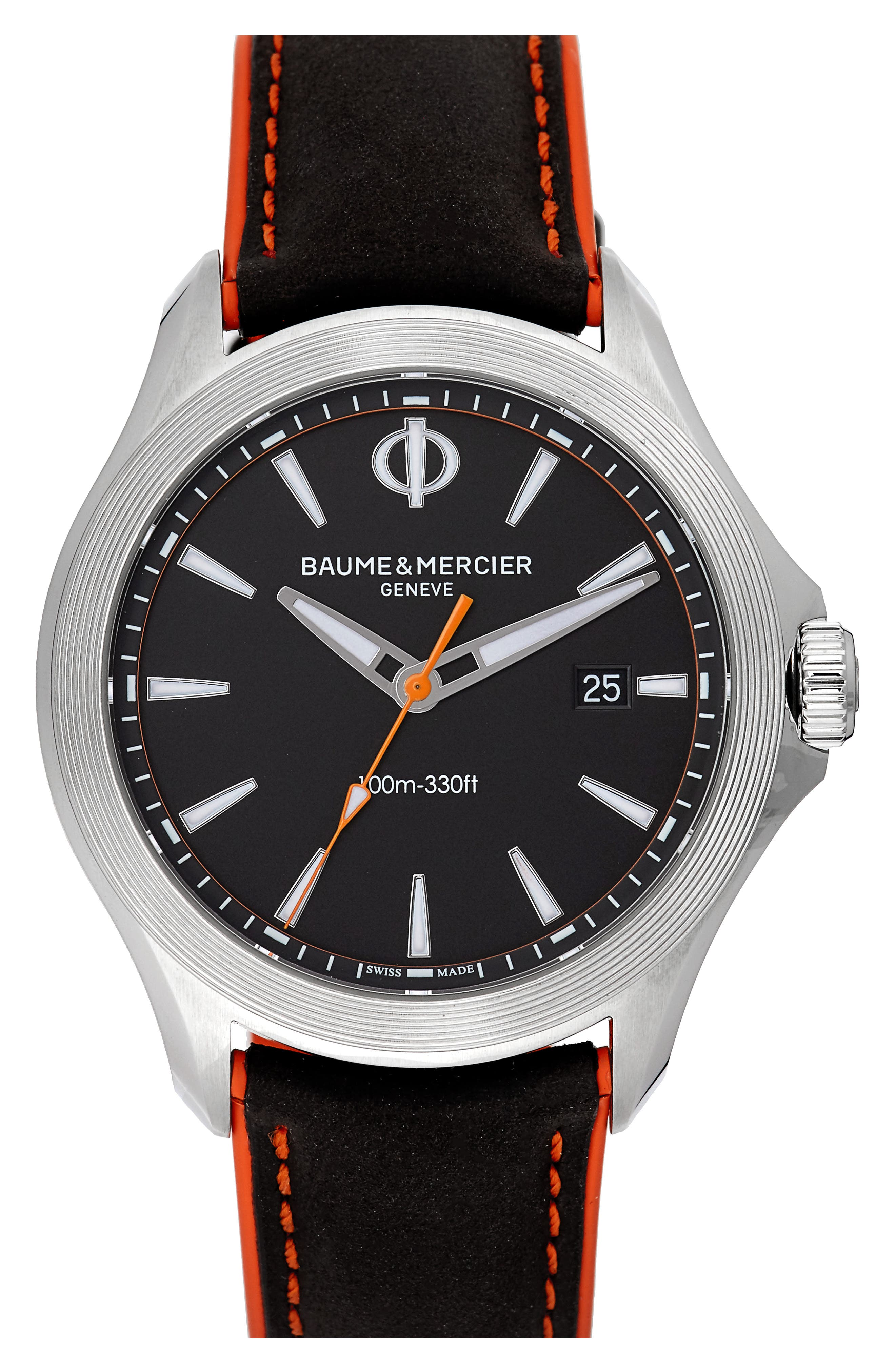 Baume & Mercier Clifton Leather Strap Watch, 42mm,                         Main,                         color, BLACK/BLACK