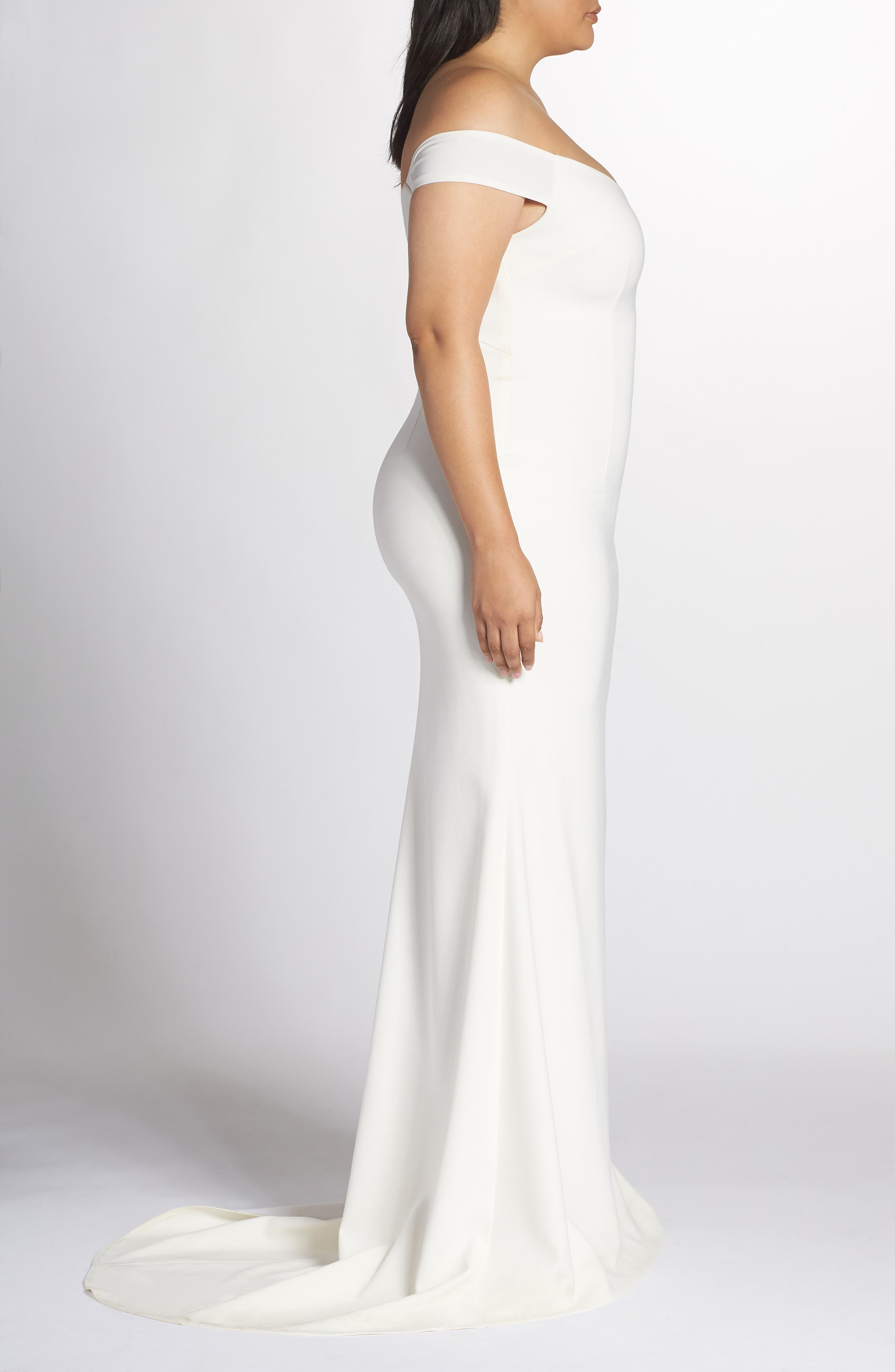 NOEL AND JEAN BY KATIE MAY,                             Alpha Off the Shoulder Dress,                             Alternate thumbnail 3, color,                             IVORY