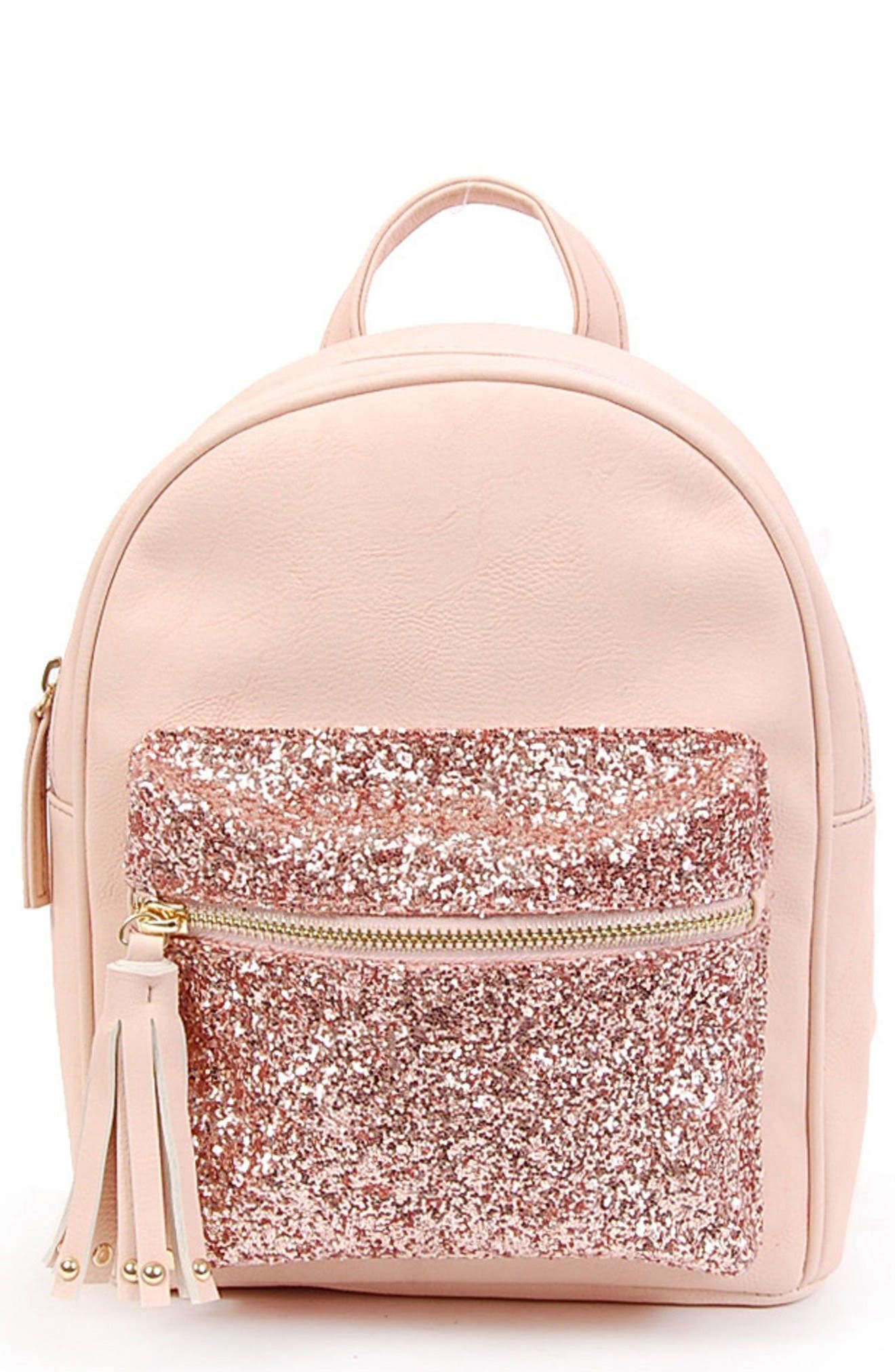 Glitter Pouch Mini Faux Leather Backpack,                             Main thumbnail 1, color,                             650