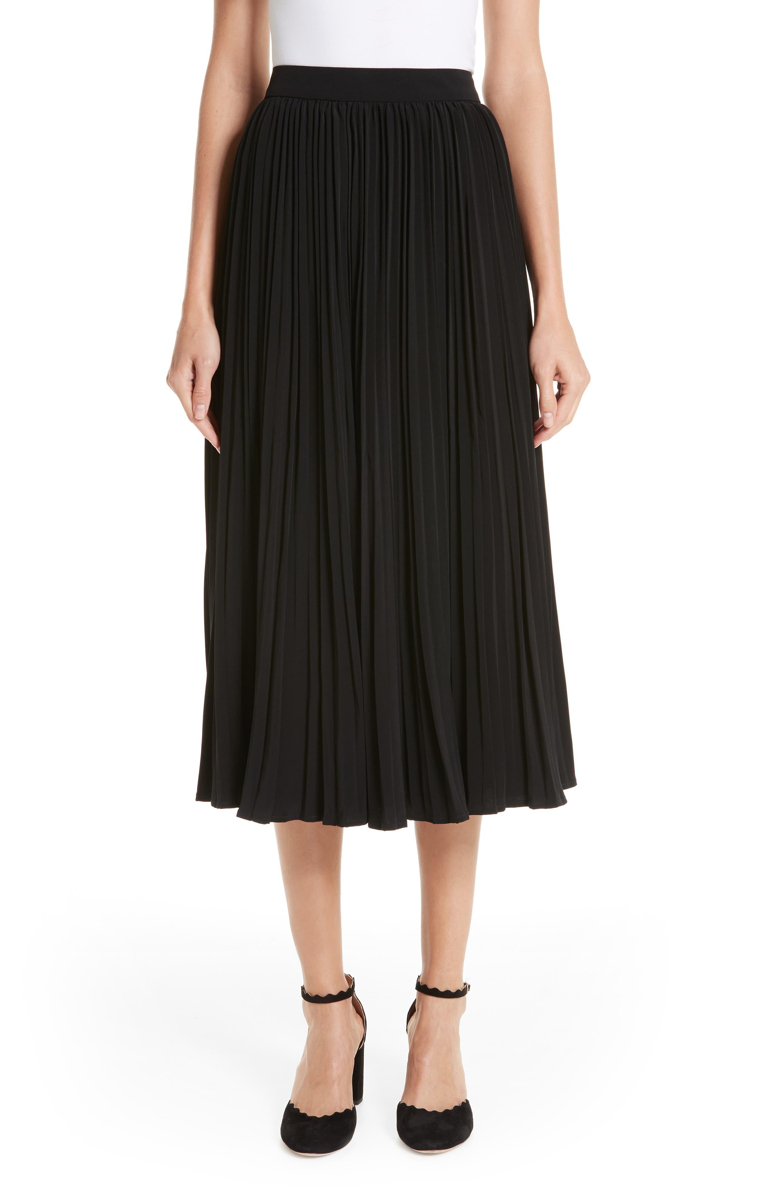 Essentials Pleated Midi Skirt,                             Main thumbnail 1, color,                             BLACK
