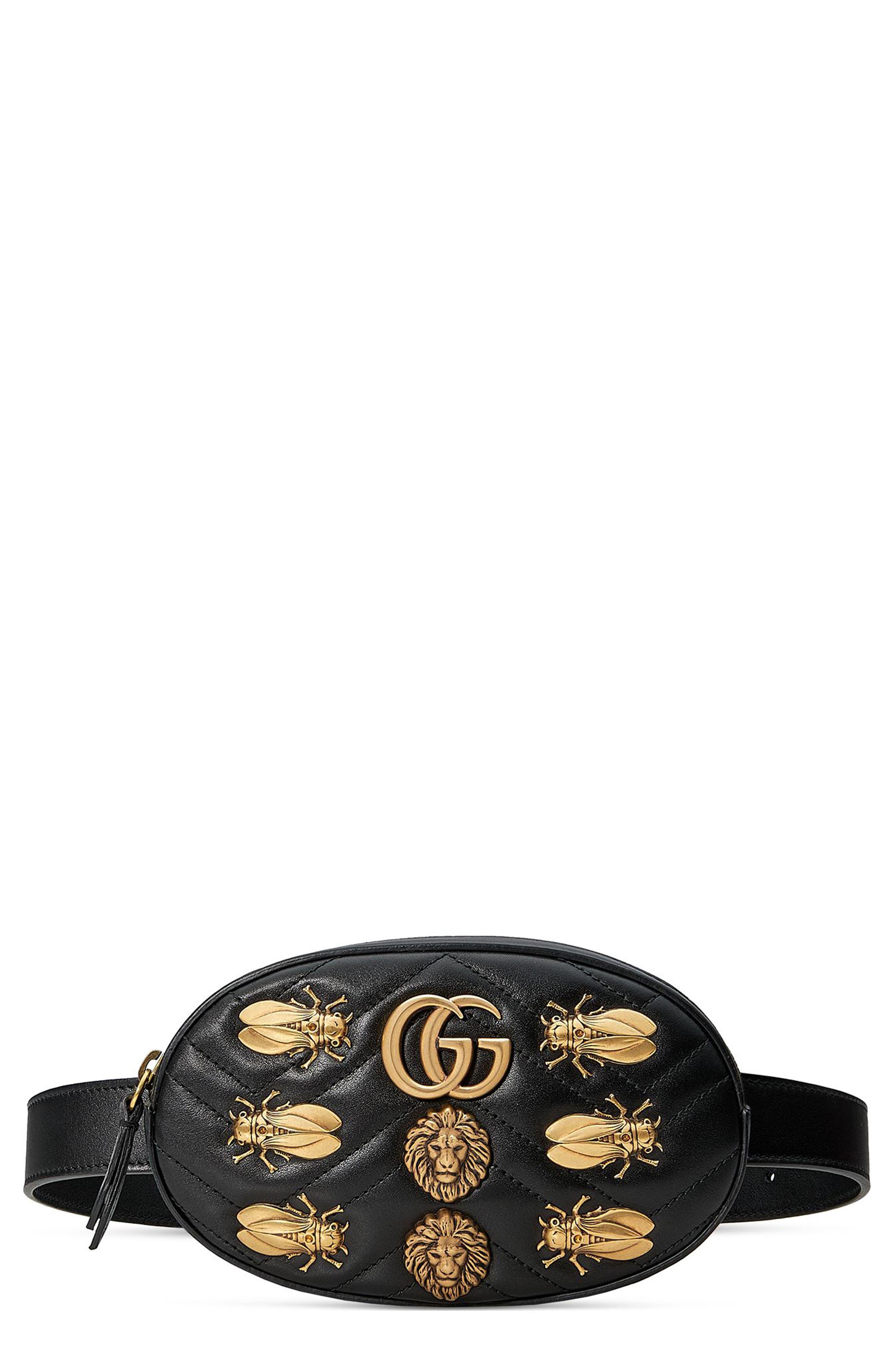 GG Marmont 2.0 Animal Stud Matelassé Leather Belt Bag, Main, color, 001