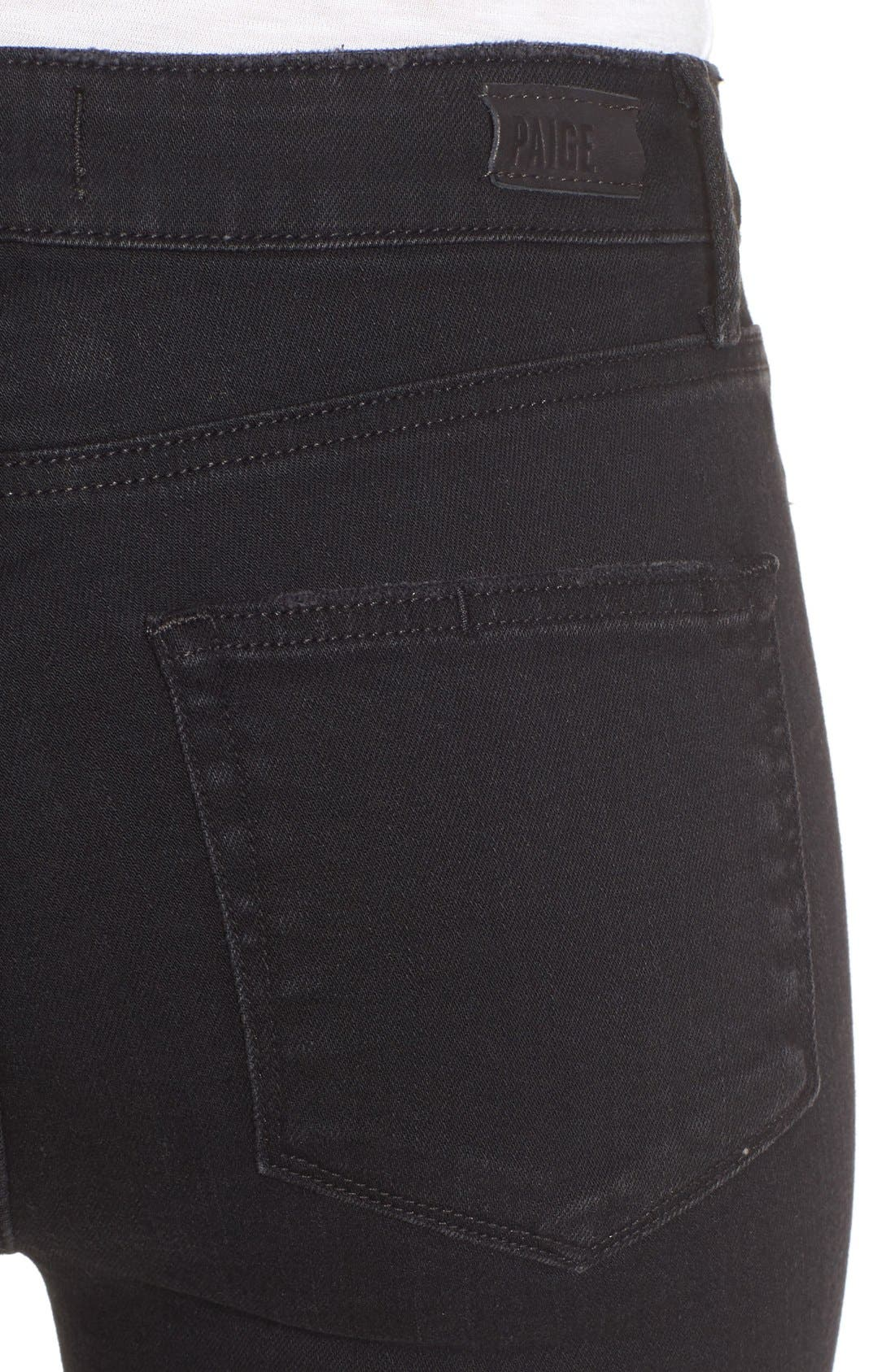 Colette High Waist Raw Hem Crop Flare Jeans,                             Alternate thumbnail 4, color,                             001