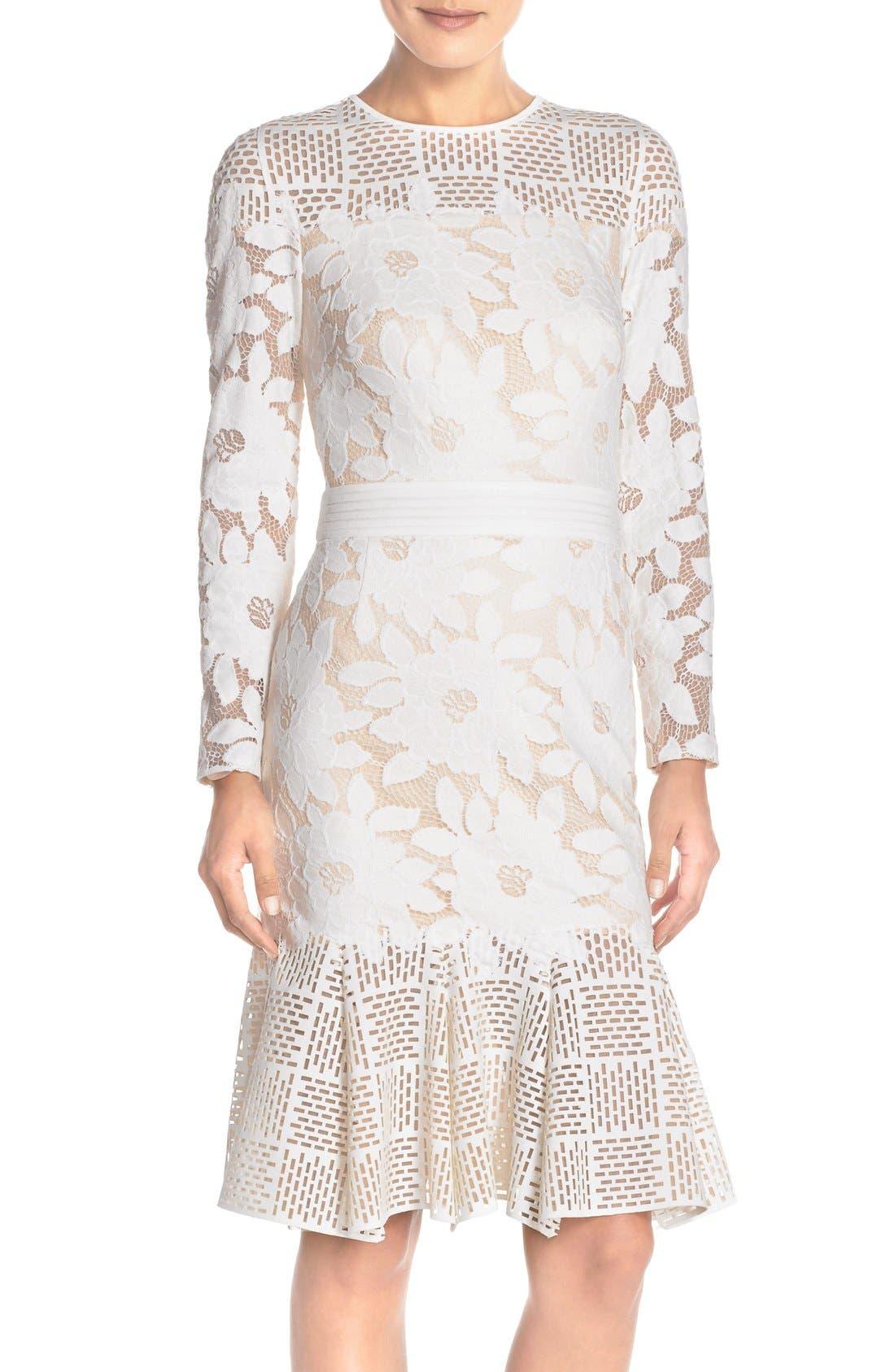 Lace & Cutout Neoprene Sheath Dress,                         Main,                         color, 904