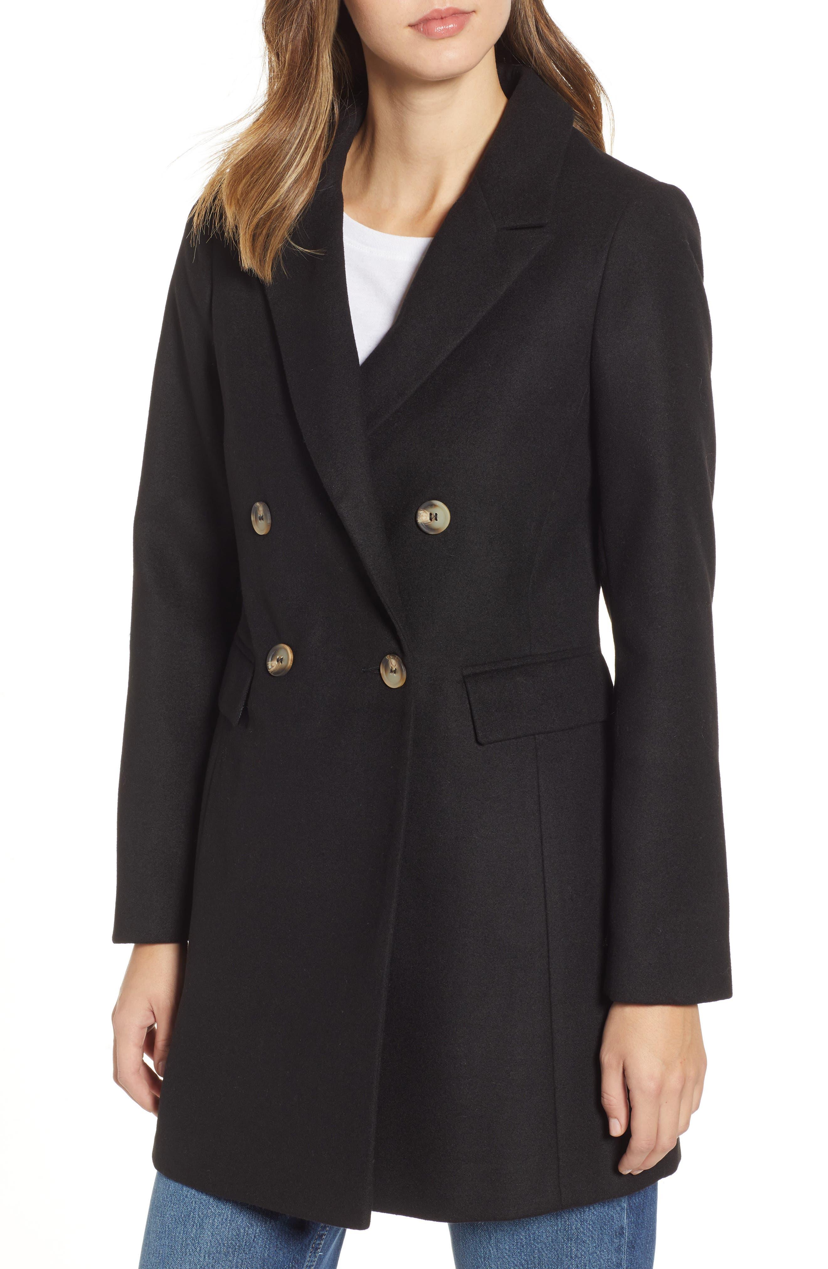 Naomi Faux Fur Collar Coat,                             Alternate thumbnail 2, color,                             BLACK
