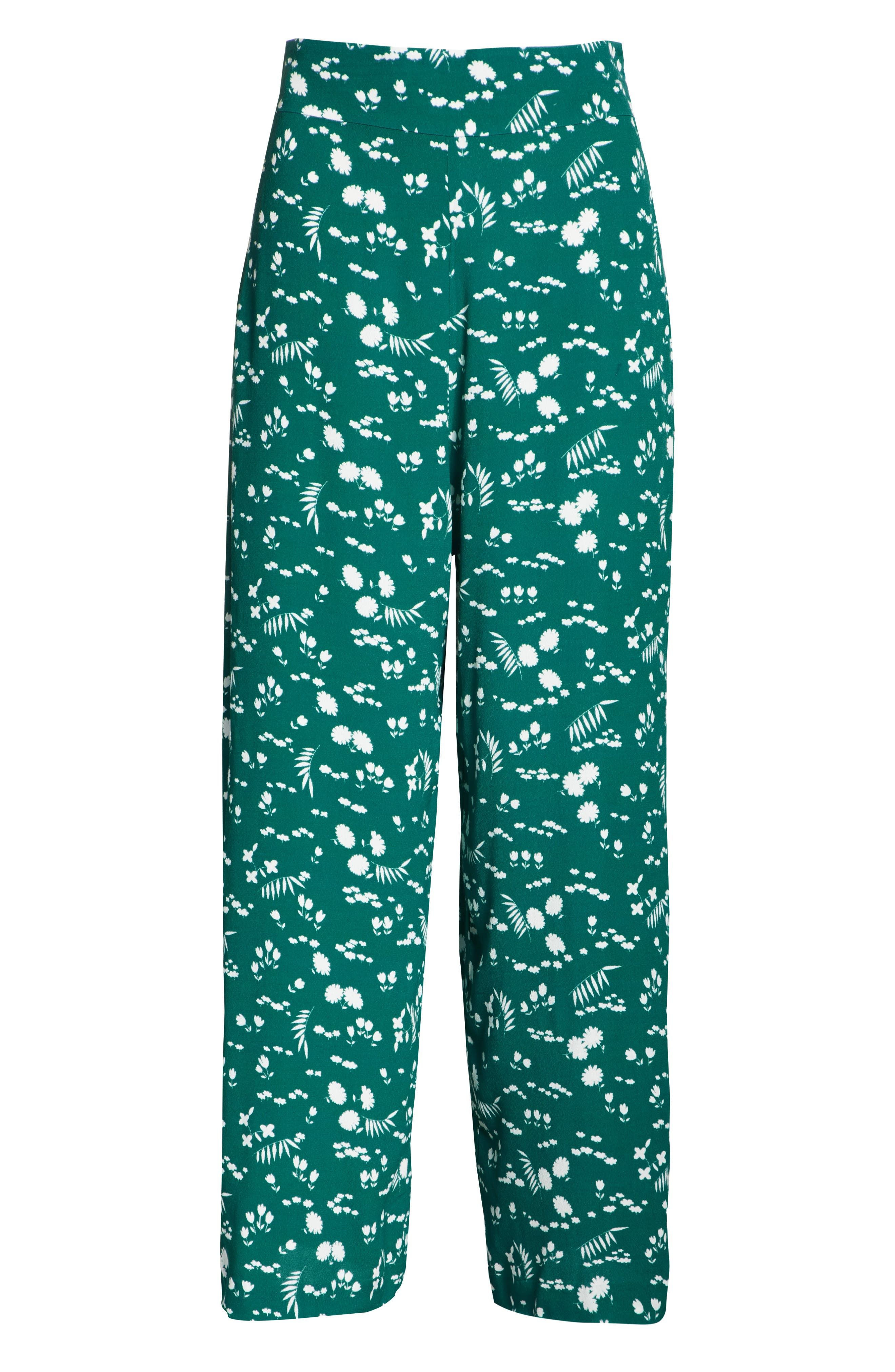 Floral Print Crop Pants,                             Alternate thumbnail 6, color,                             900