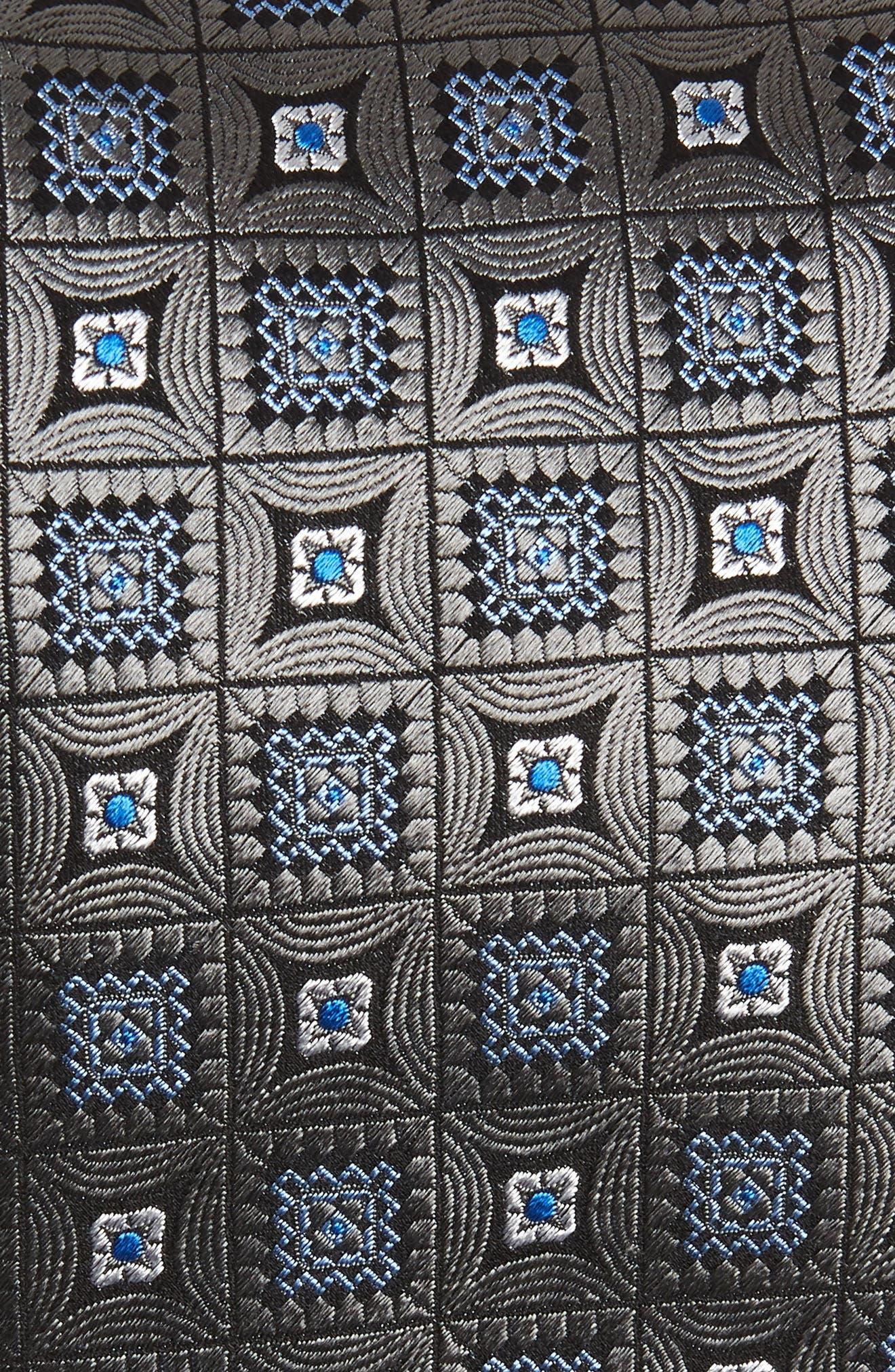 DAVID DONAHUE,                             Medallion Silk X-Long Tie,                             Alternate thumbnail 2, color,                             CHARCOAL