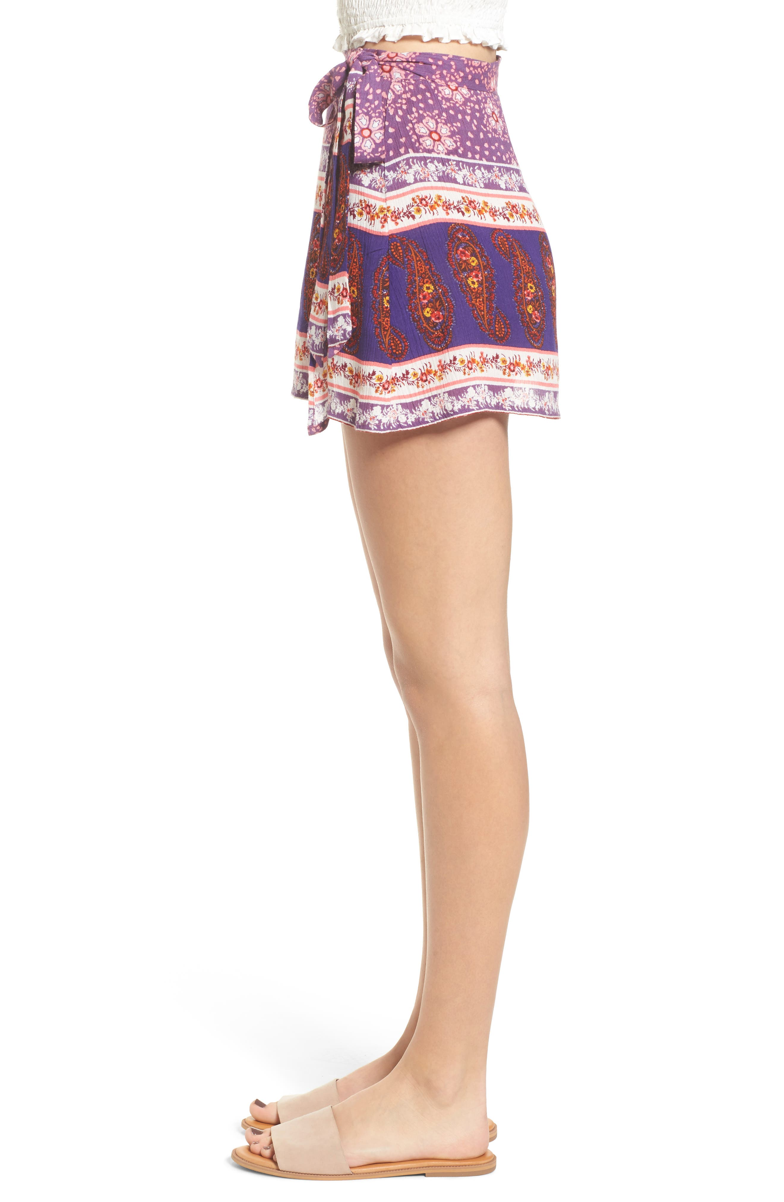 Dana Floral Wrap Skirt,                             Alternate thumbnail 3, color,                             500