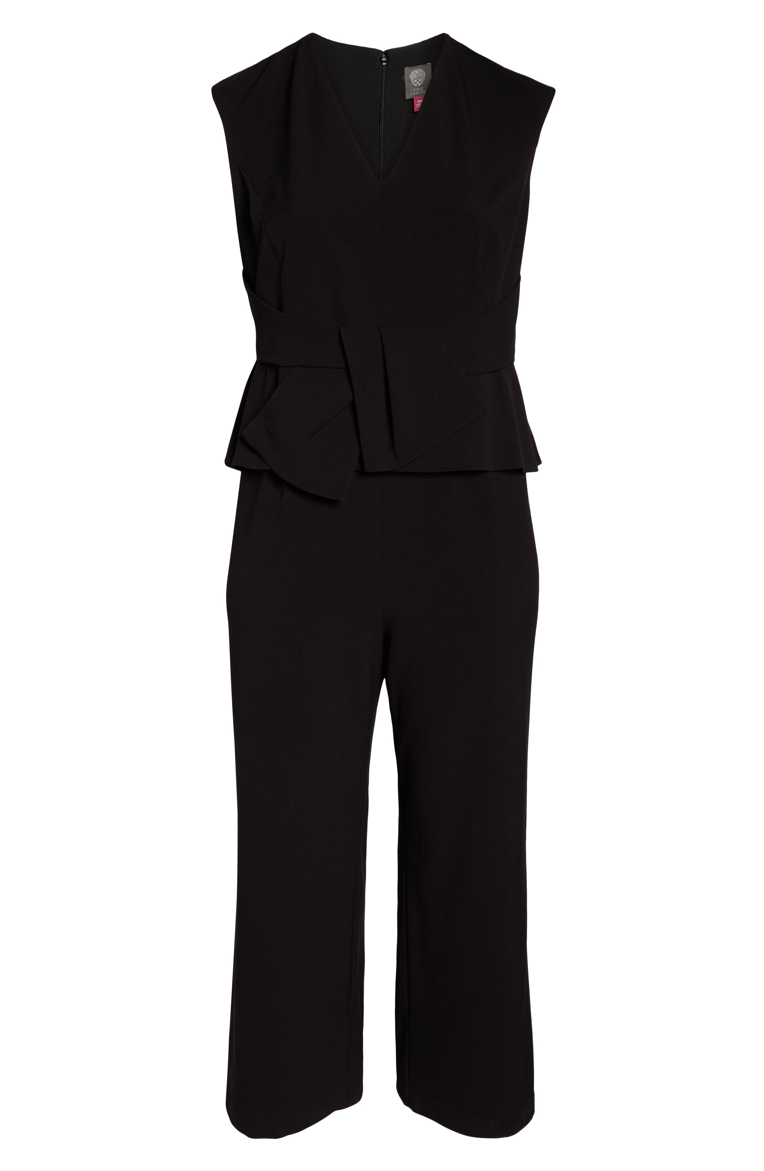 Stretch Peplum Waist Jumpsuit,                             Alternate thumbnail 7, color,                             BLACK