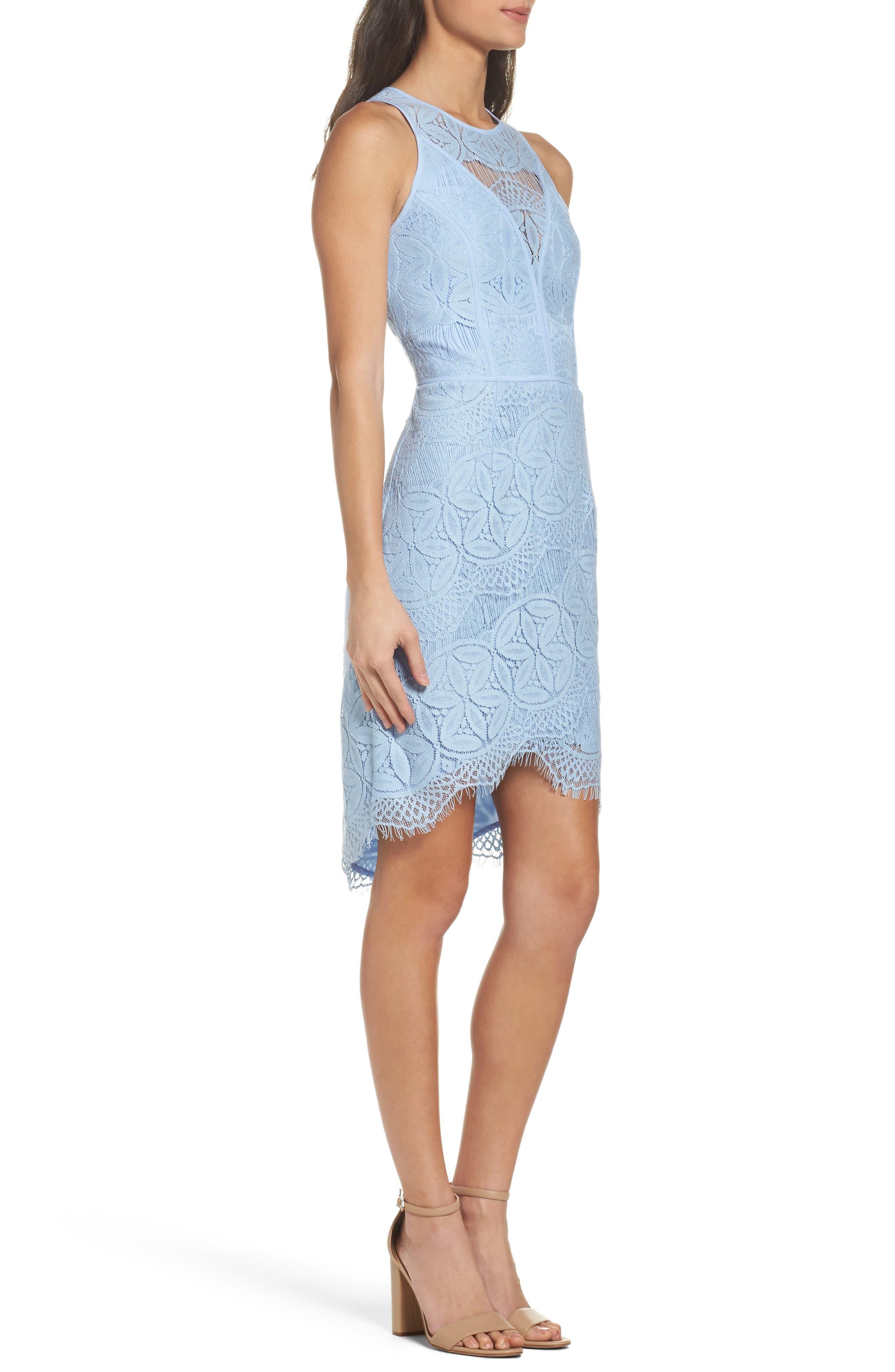 Lace High/Low Sheath Dress,                             Alternate thumbnail 23, color,