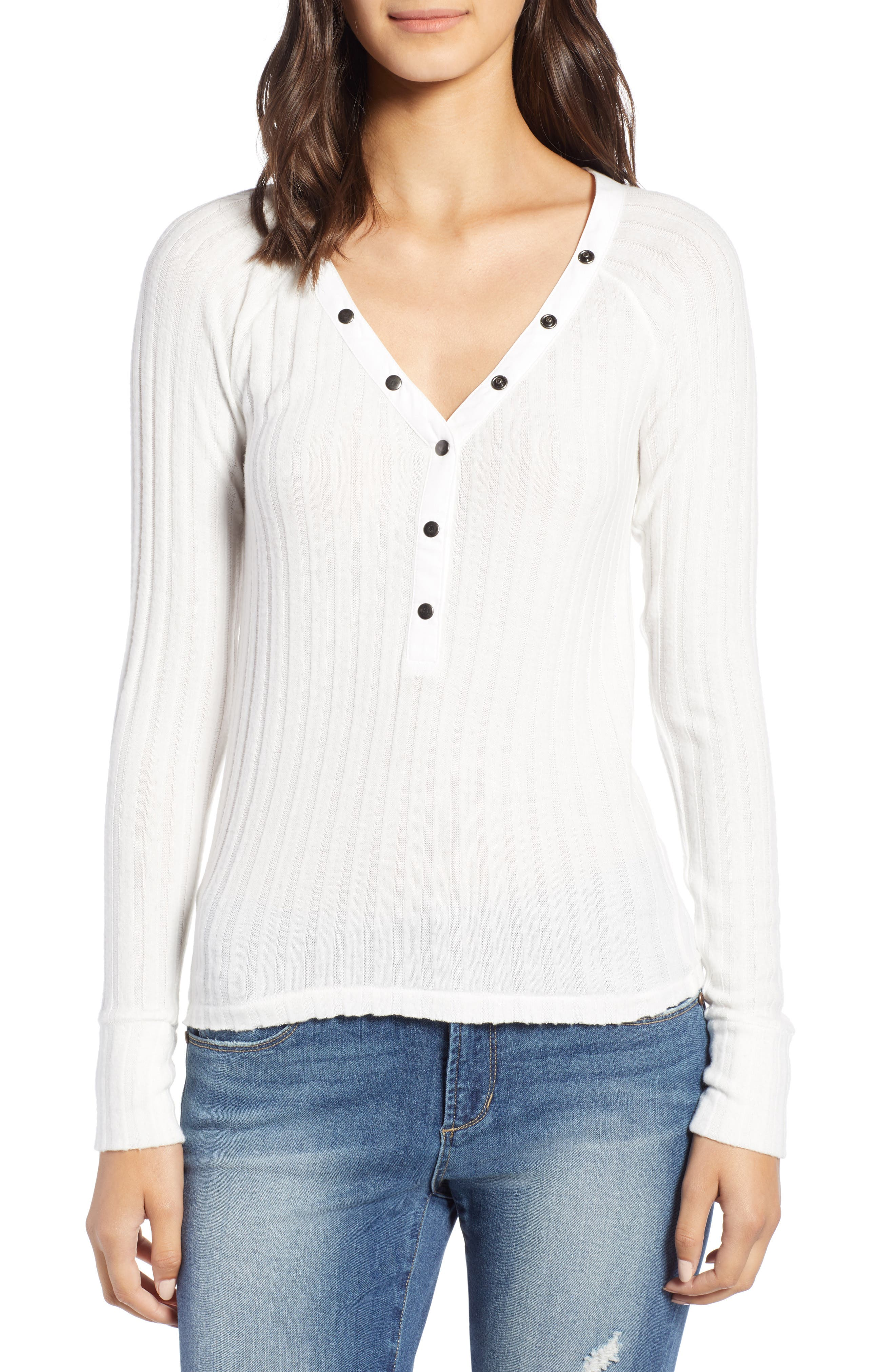 BP.,                             Fitted Henley,                             Main thumbnail 1, color,                             IVORY