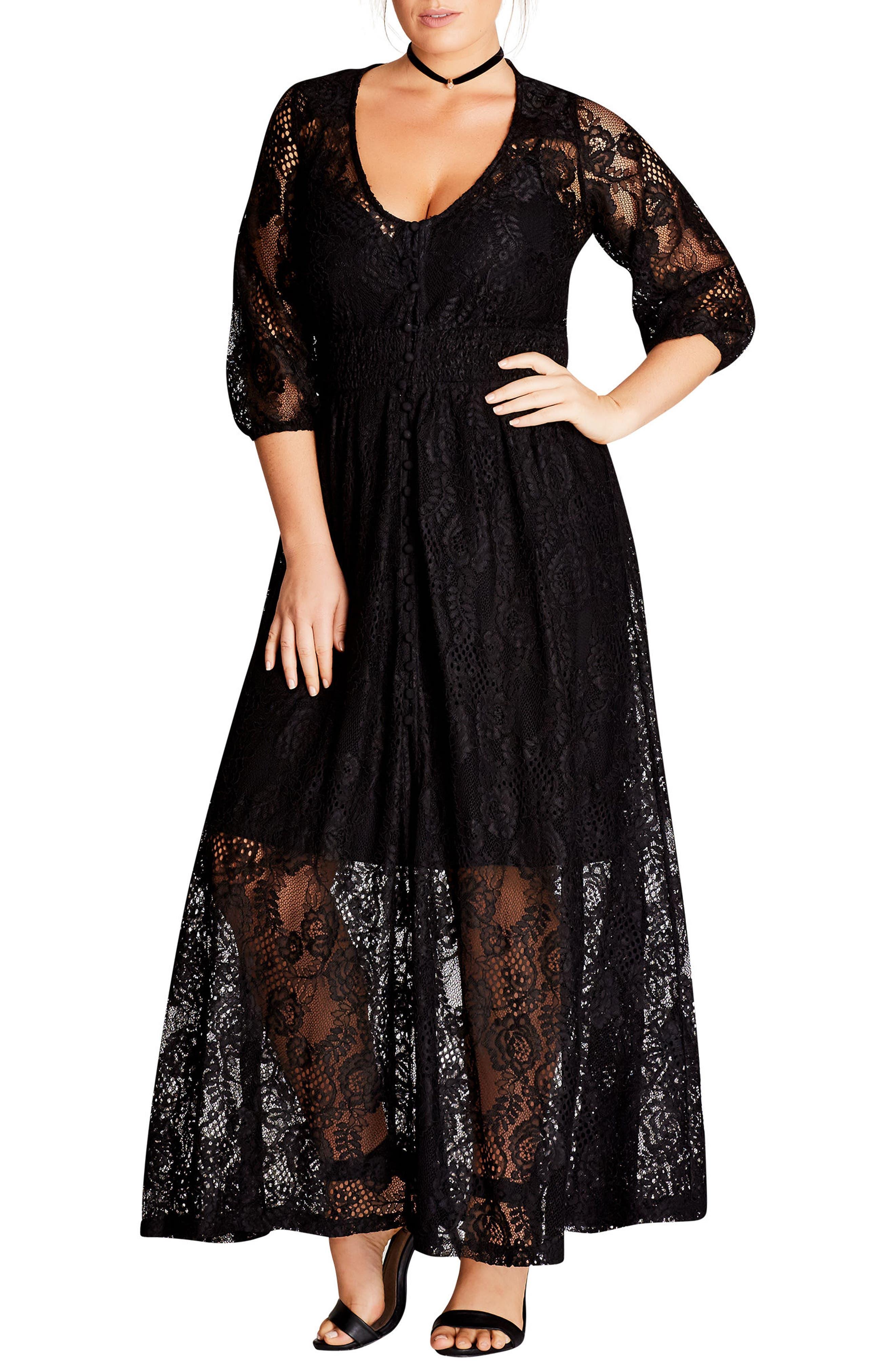 Divine Creation Lace Maxi Dress,                             Main thumbnail 1, color,                             001