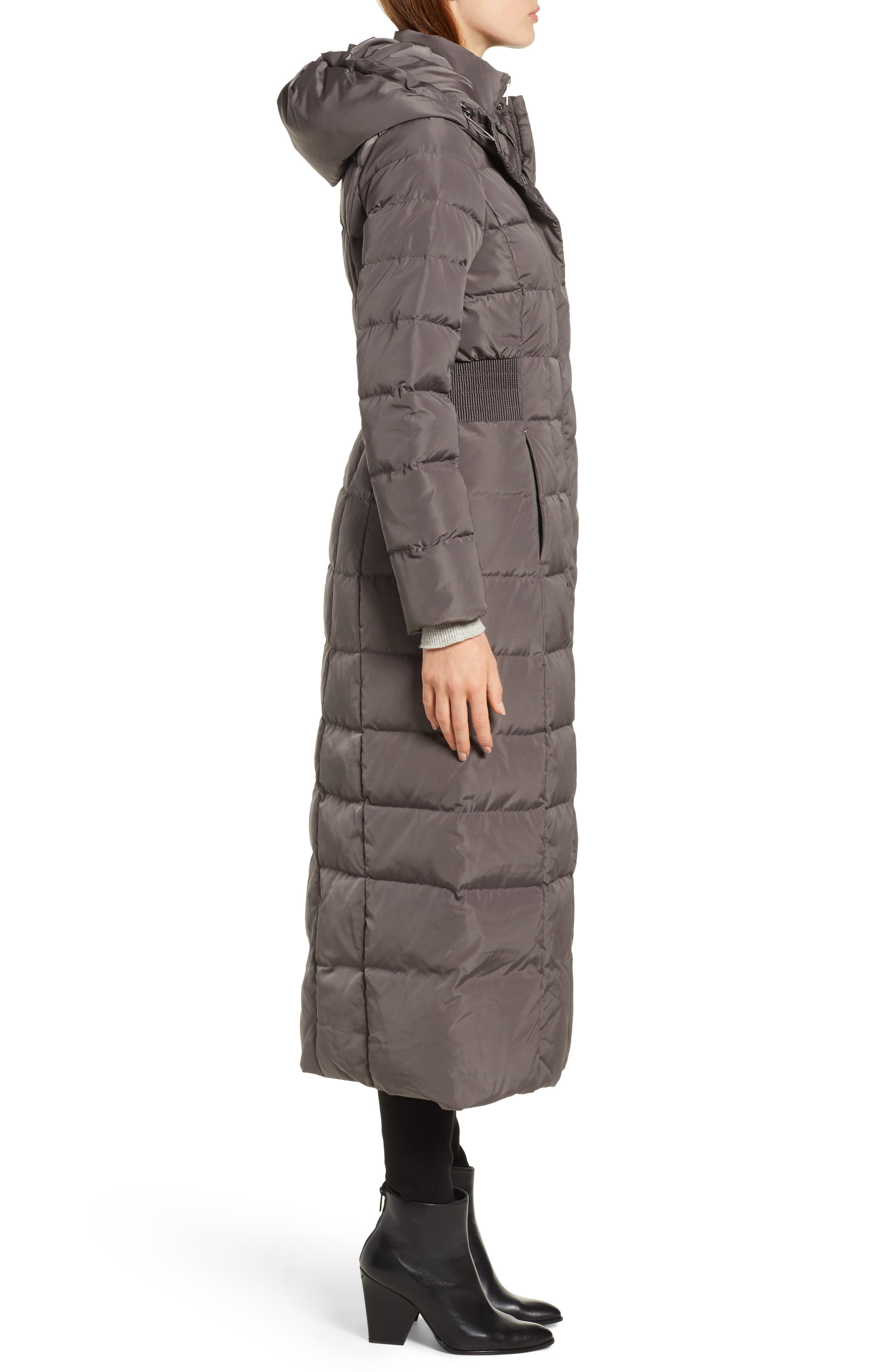 Cole Haan Quilted Coat with Inner Bib,                             Alternate thumbnail 3, color,                             024