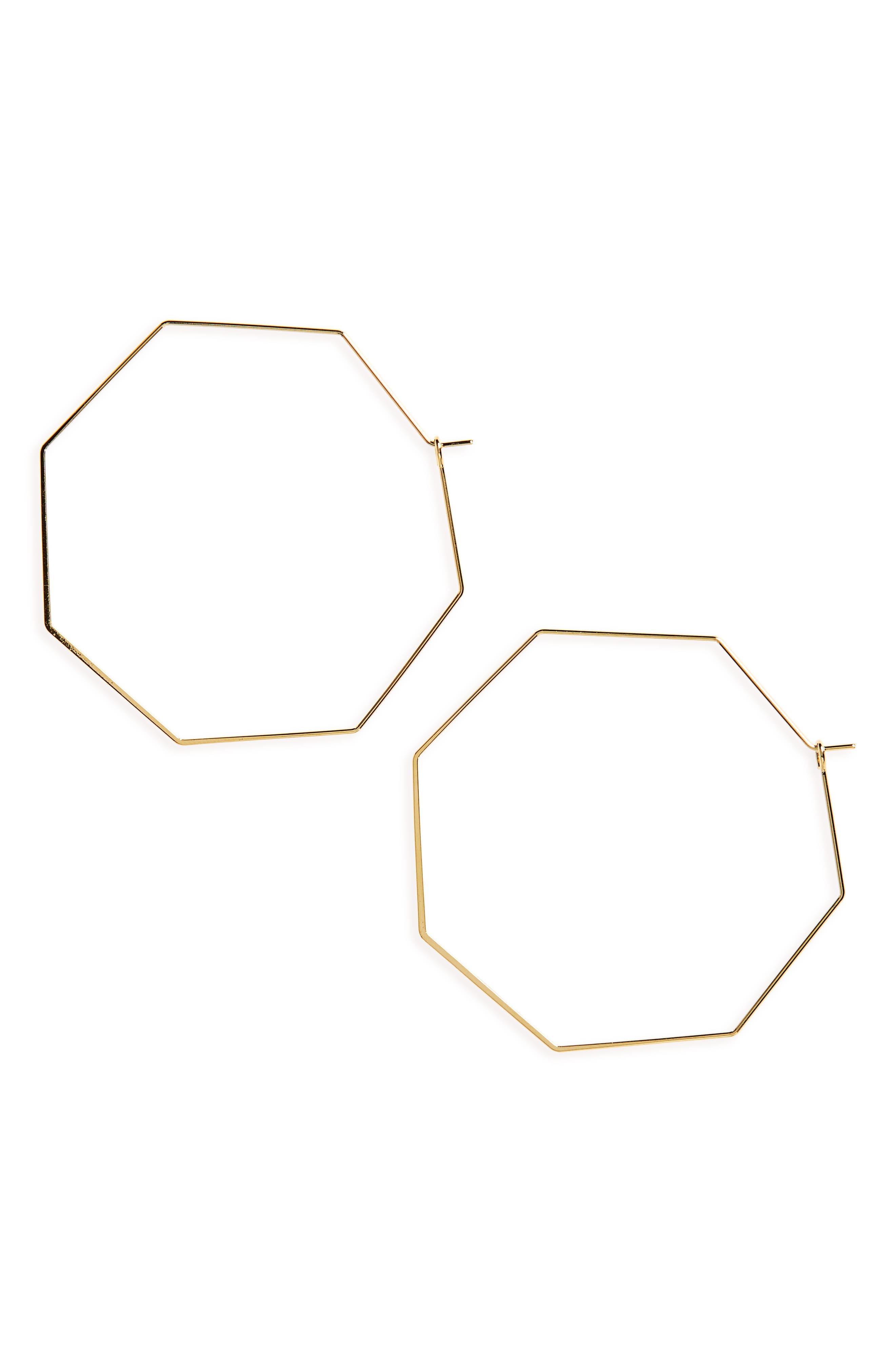 Octagon Hoop Earrings,                             Main thumbnail 1, color,                             710