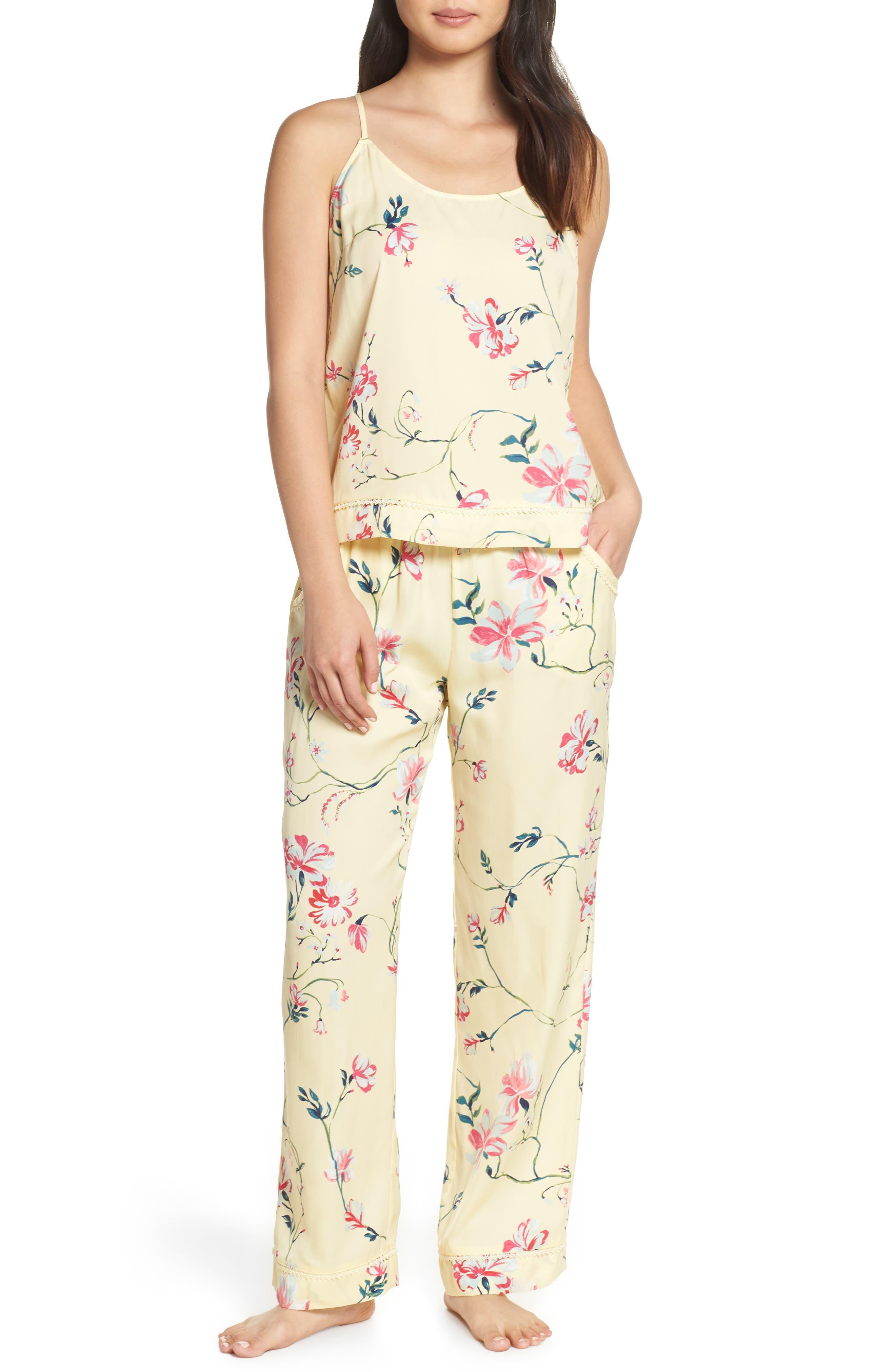 Nordstrom Lingerie Sweet Dreams Satin Pajamas, Yellow