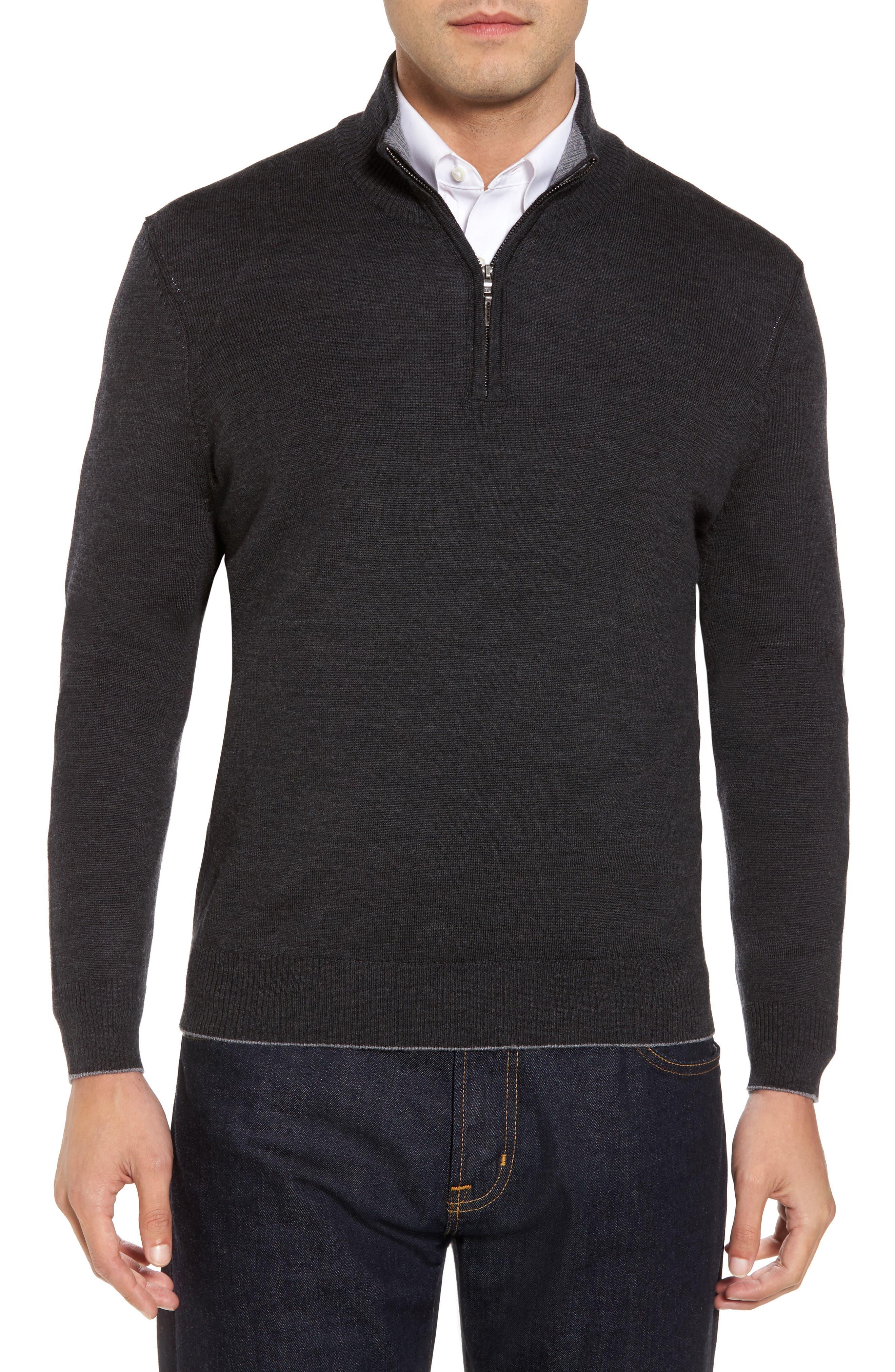 THOMAS DEAN,                             Merino Wool Blend Quarter Zip Sweater,                             Main thumbnail 1, color,                             020