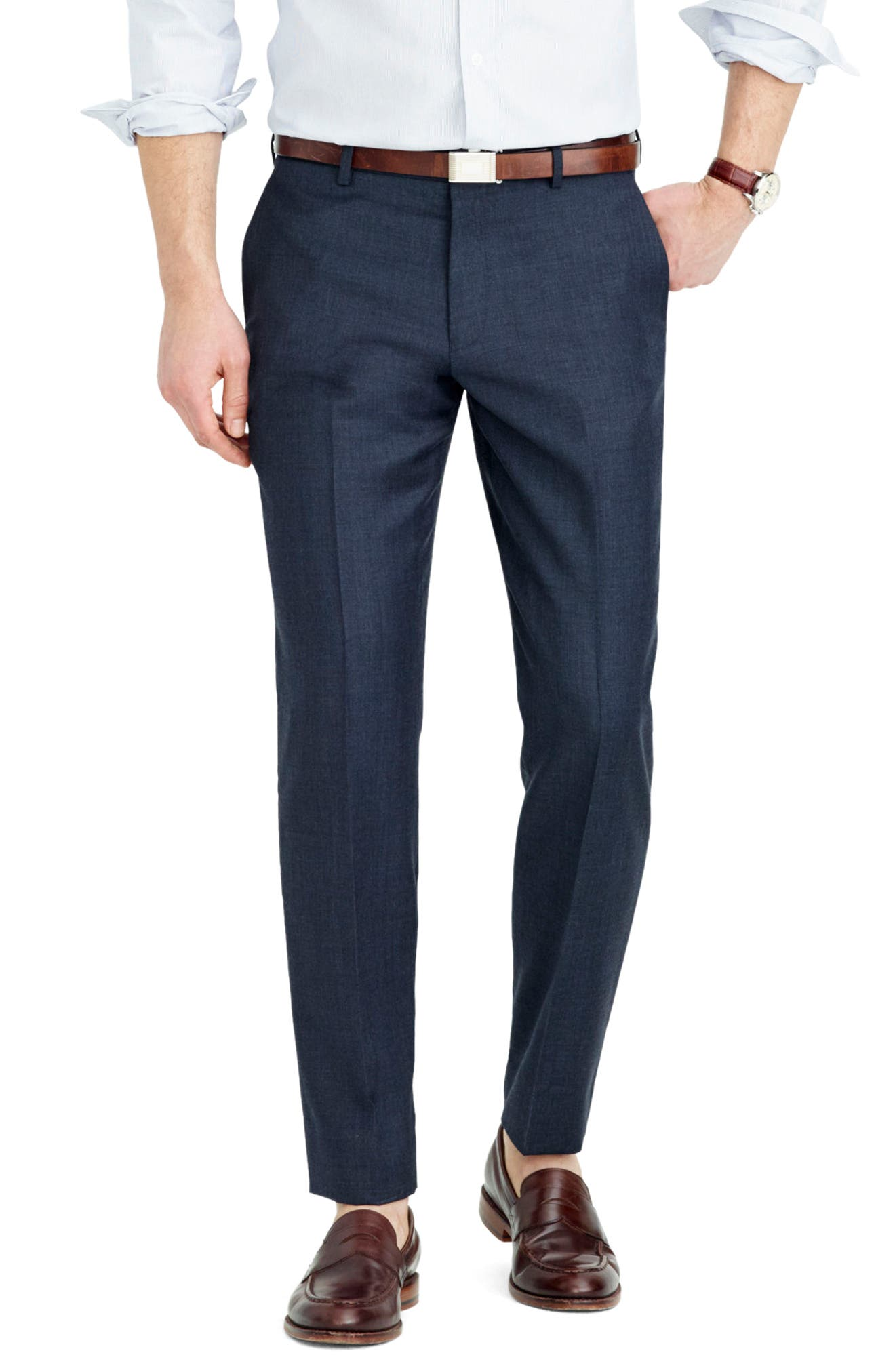 Ludlow Flat Front Solid Wool Trousers,                             Alternate thumbnail 22, color,