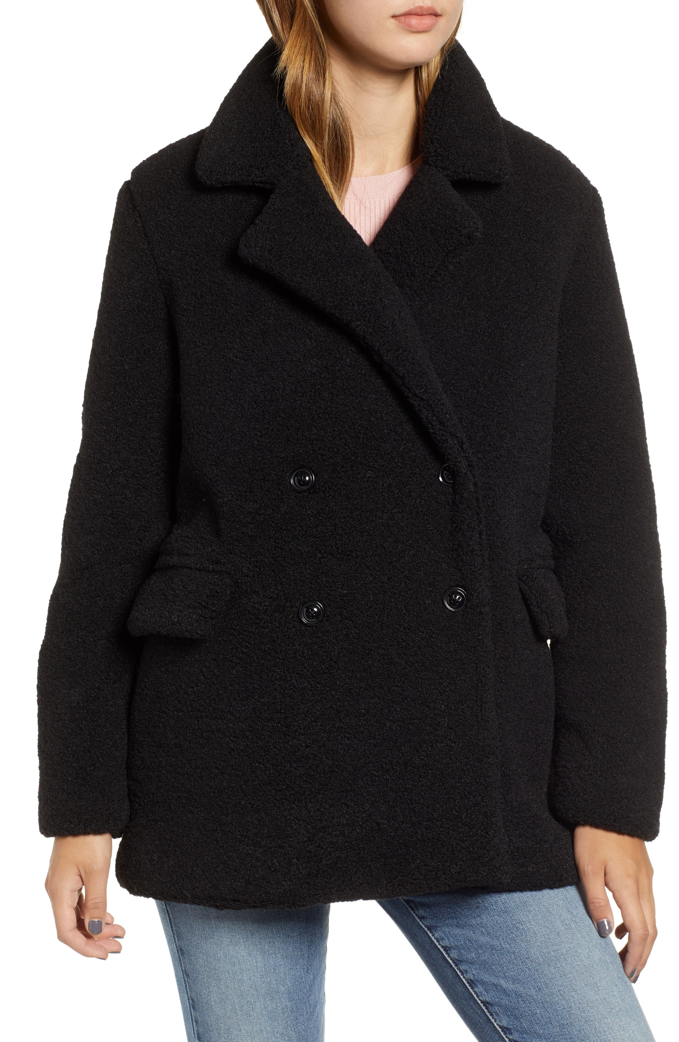 Textured Double Breasted Coat,                             Alternate thumbnail 4, color,                             BLACK