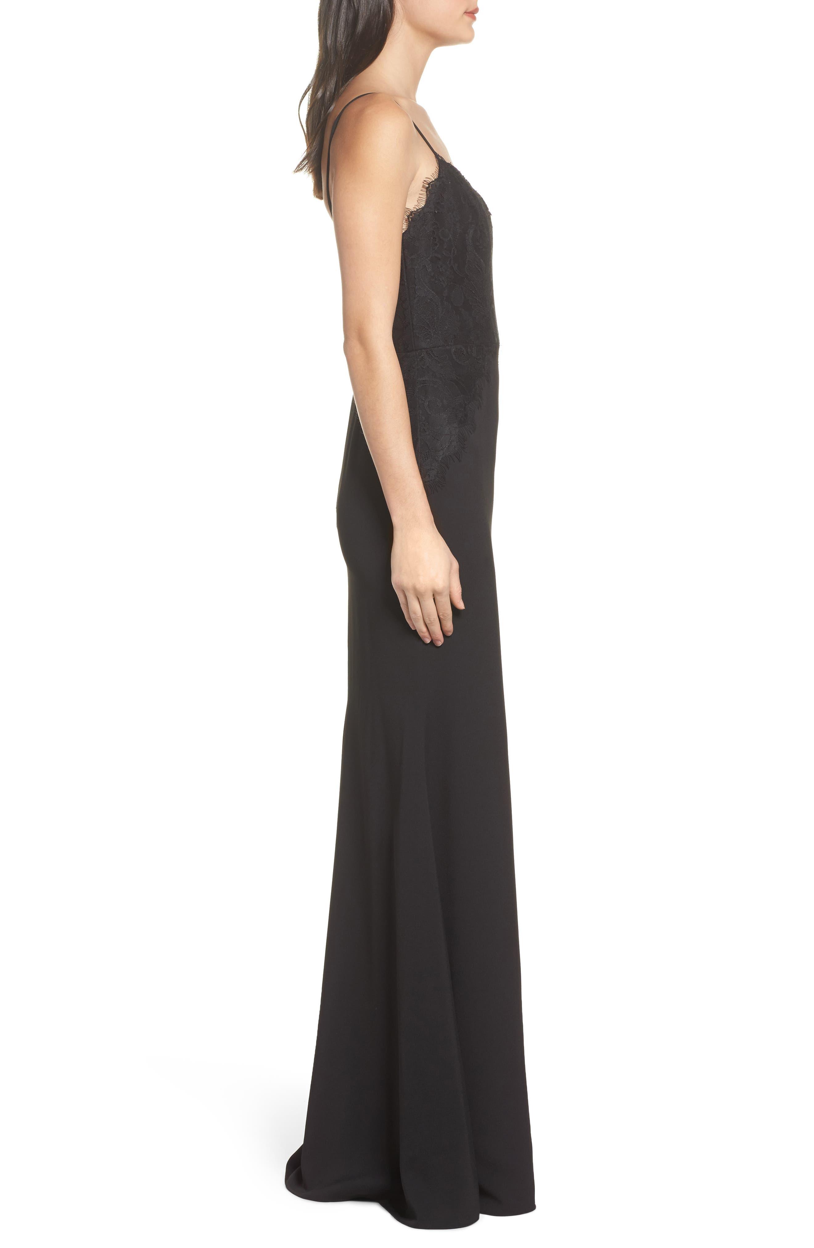Lace & Crepe Trumpet Gown,                             Alternate thumbnail 3, color,                             BLACK