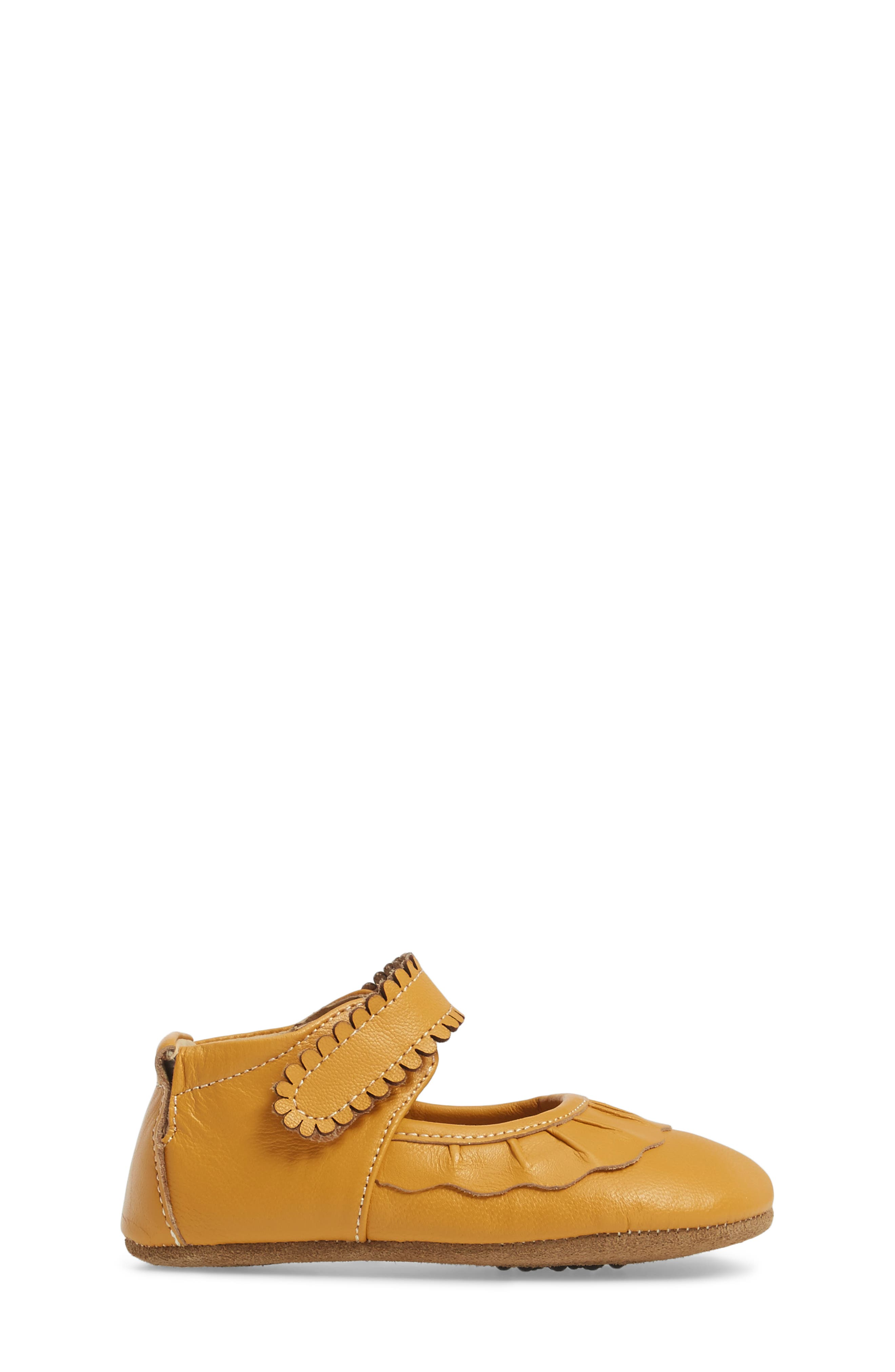'Ruche' Mary Jane Crib Shoe,                             Alternate thumbnail 3, color,                             BUTTERSCOTCH LEATHER
