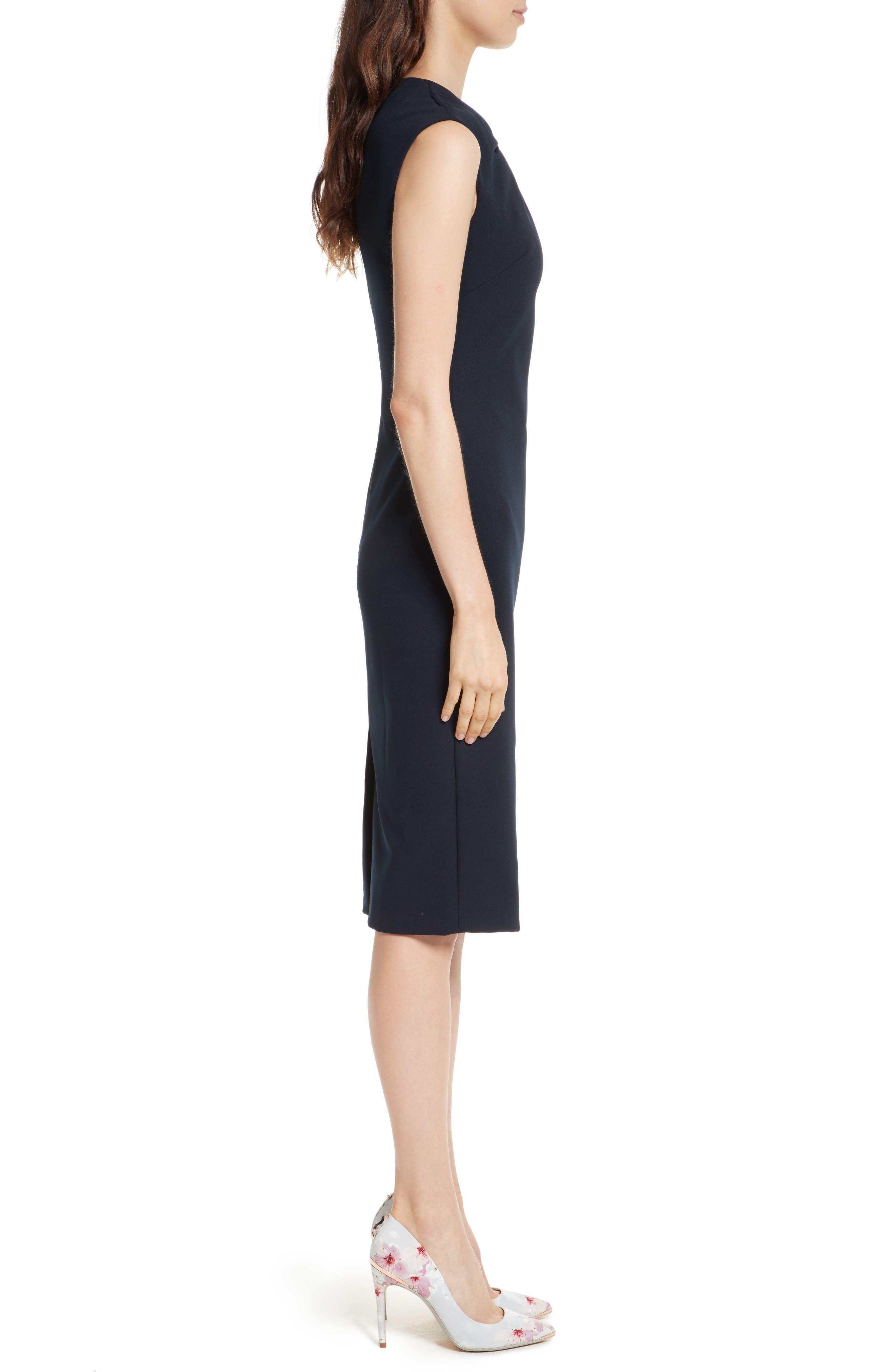 Kezzia Bow Neck Body-Con Dress,                             Alternate thumbnail 5, color,