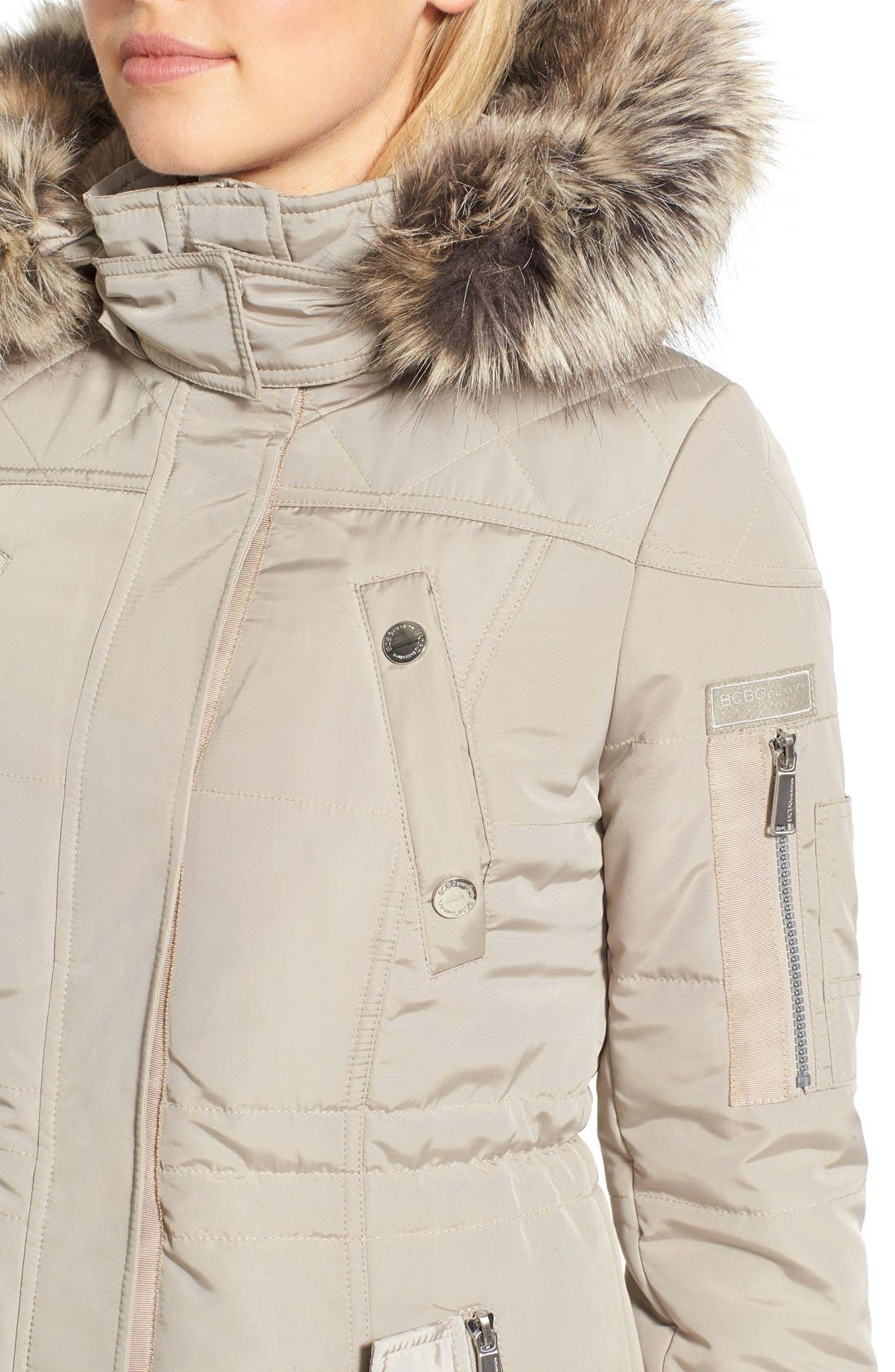 BCBGENERATION,                             FauxFur Trim Hooded Quilted Coat,                             Alternate thumbnail 2, color,                             275