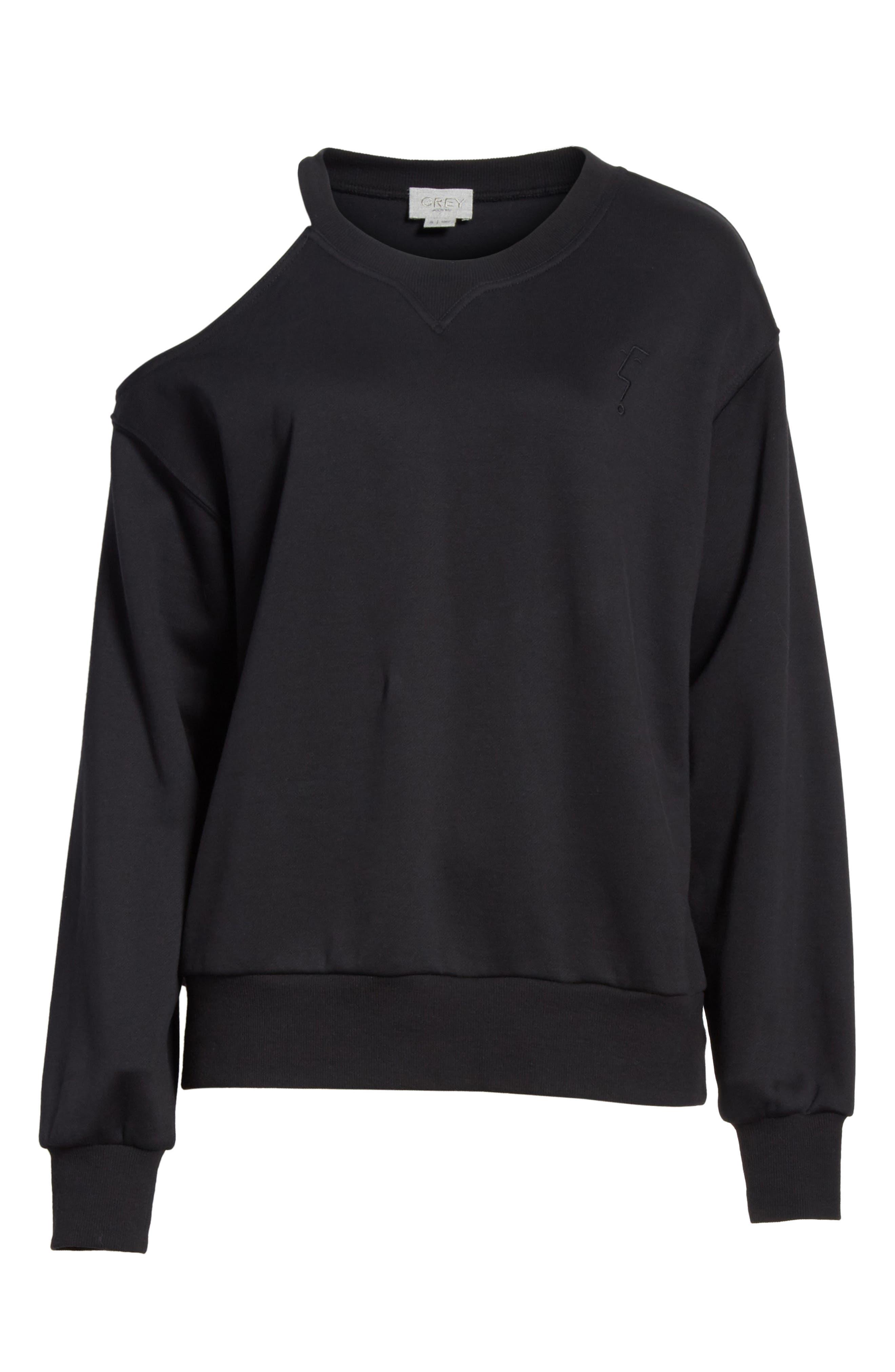 Asymmetrical Cold Shoulder Sweatshirt,                             Alternate thumbnail 6, color,                             001