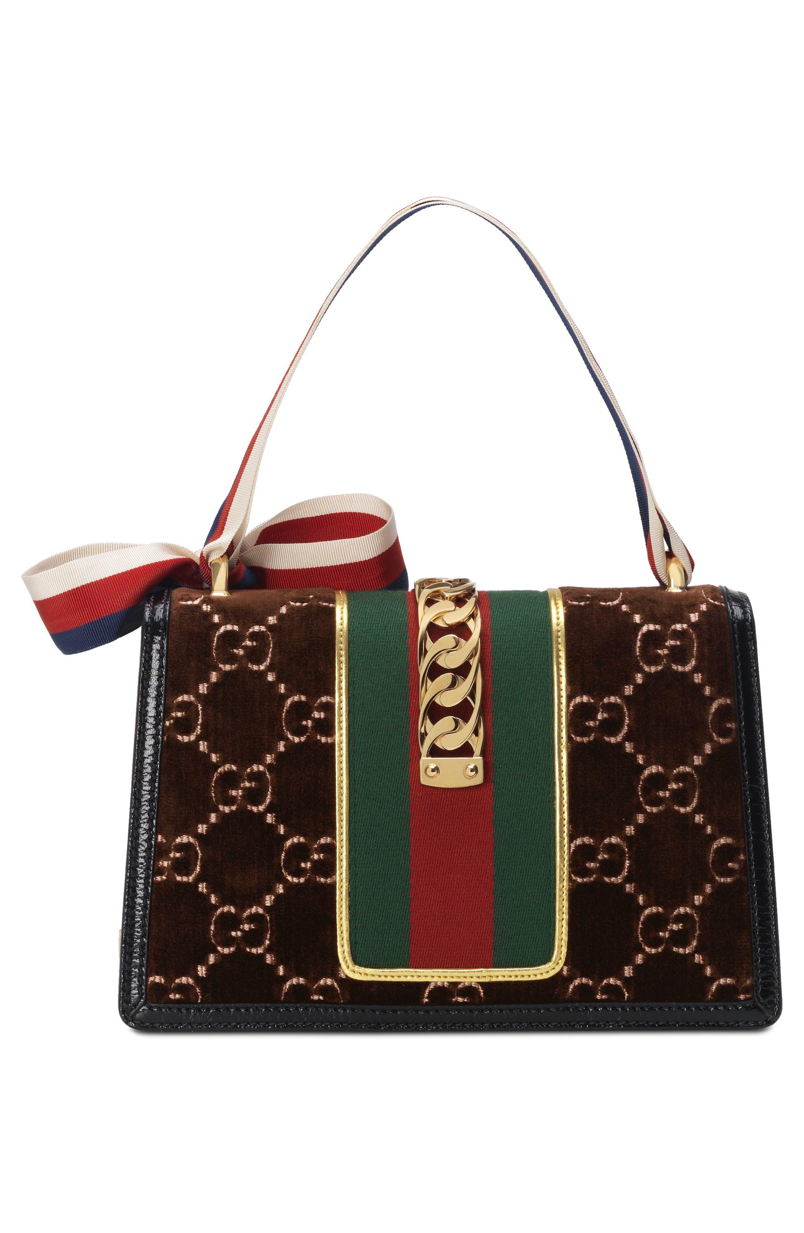 Small Sylvie Velvet Shoulder Bag,                             Alternate thumbnail 2, color,                             BROWN/ NERO/ VERT RED