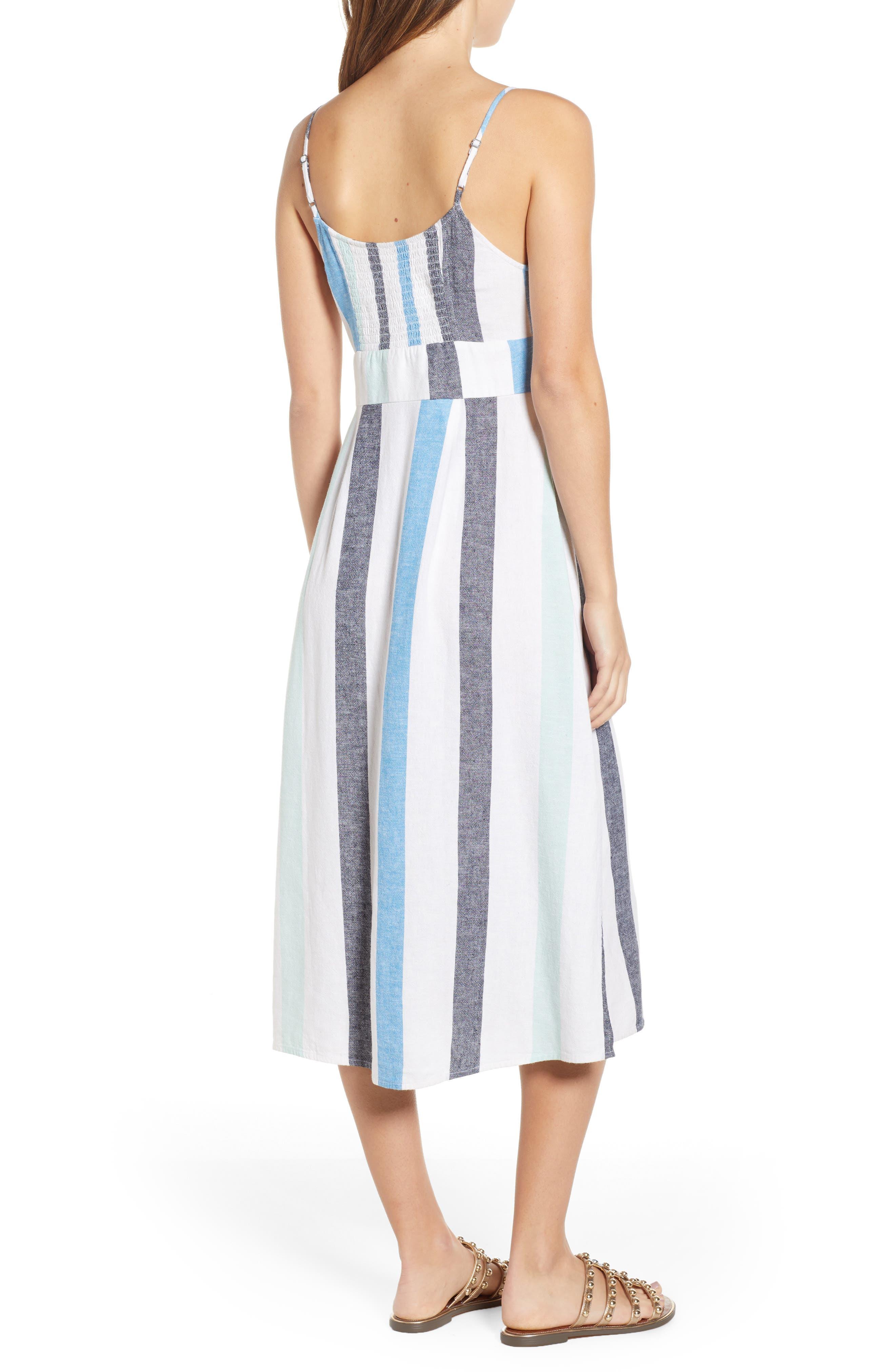 BP.,                             Stripe Sundress,                             Alternate thumbnail 3, color,                             BLUE PLACID LACY STRIPE