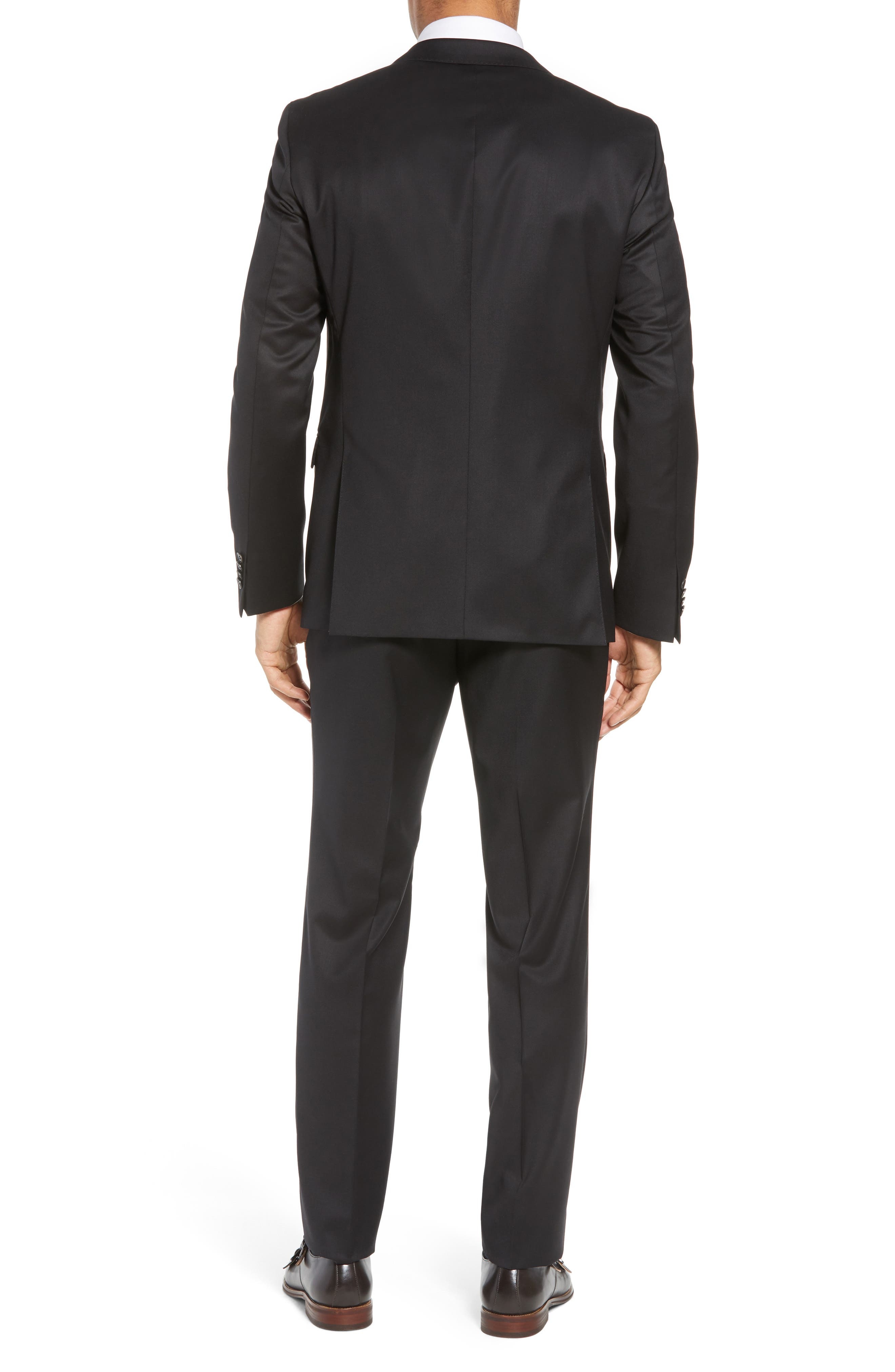 Ryan/Win Extra Trim Fit Solid Wool Suit,                             Alternate thumbnail 3, color,                             BLACK