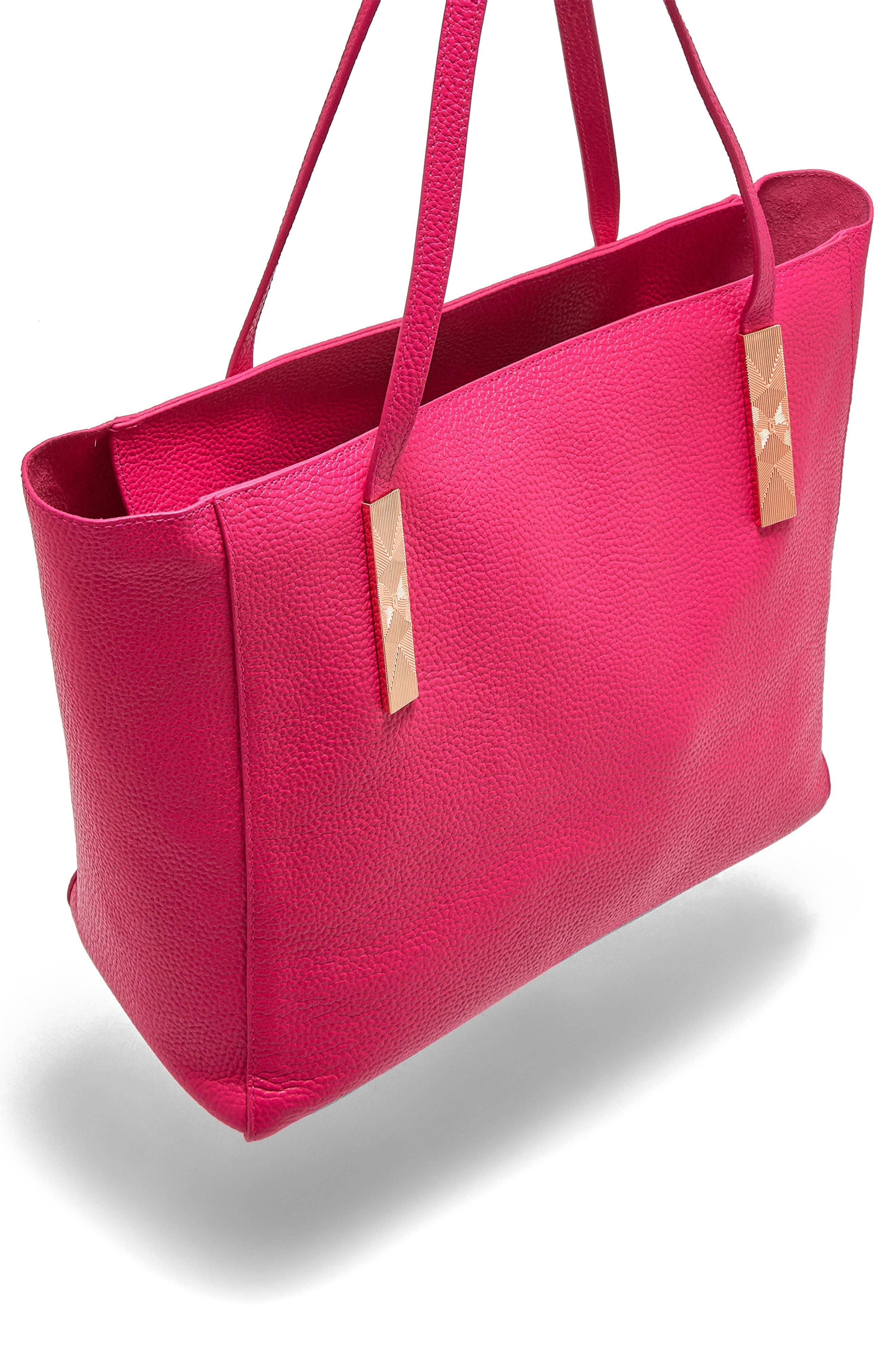 Pebbled Leather Tote,                             Alternate thumbnail 4, color,