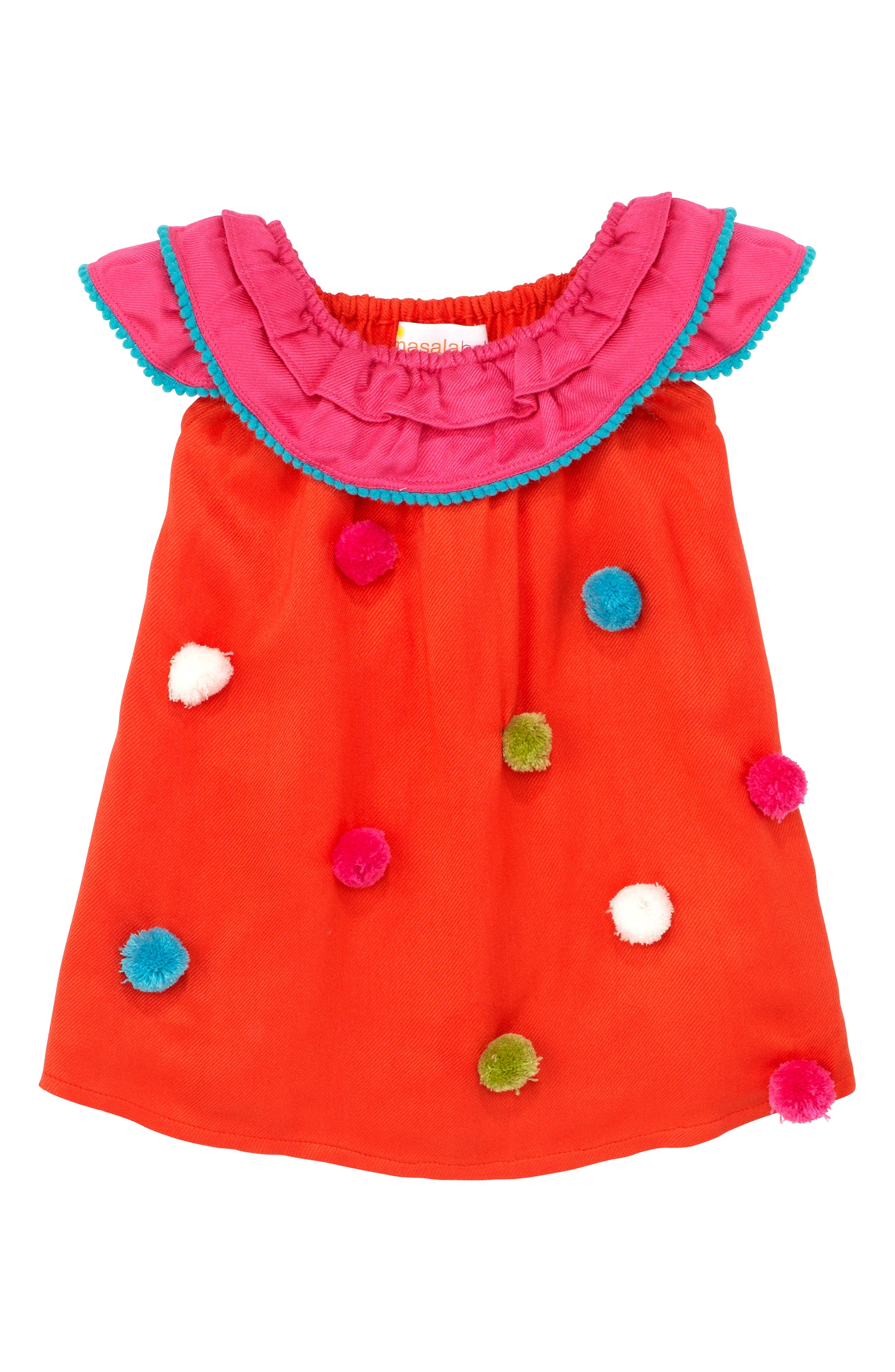 Pompom Dress,                             Alternate thumbnail 4, color,                             950