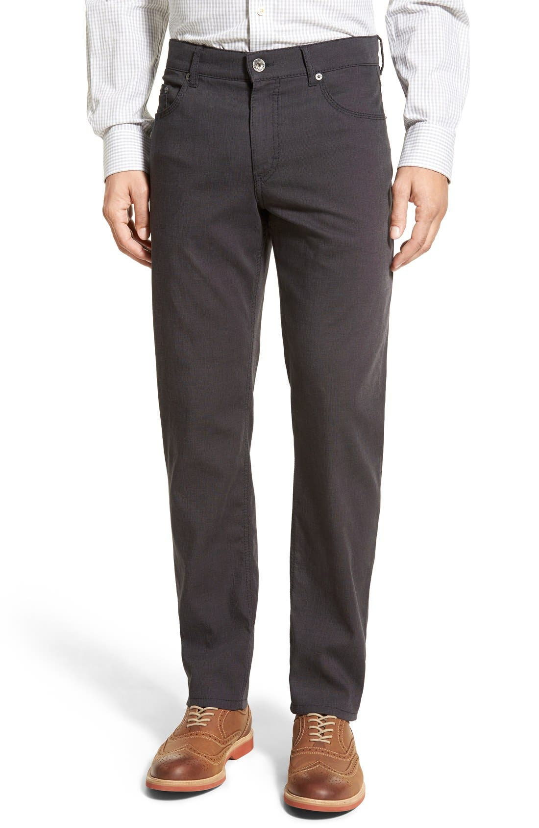 BRAX,                             Flat Front Stretch Cotton Trousers,                             Main thumbnail 1, color,                             019