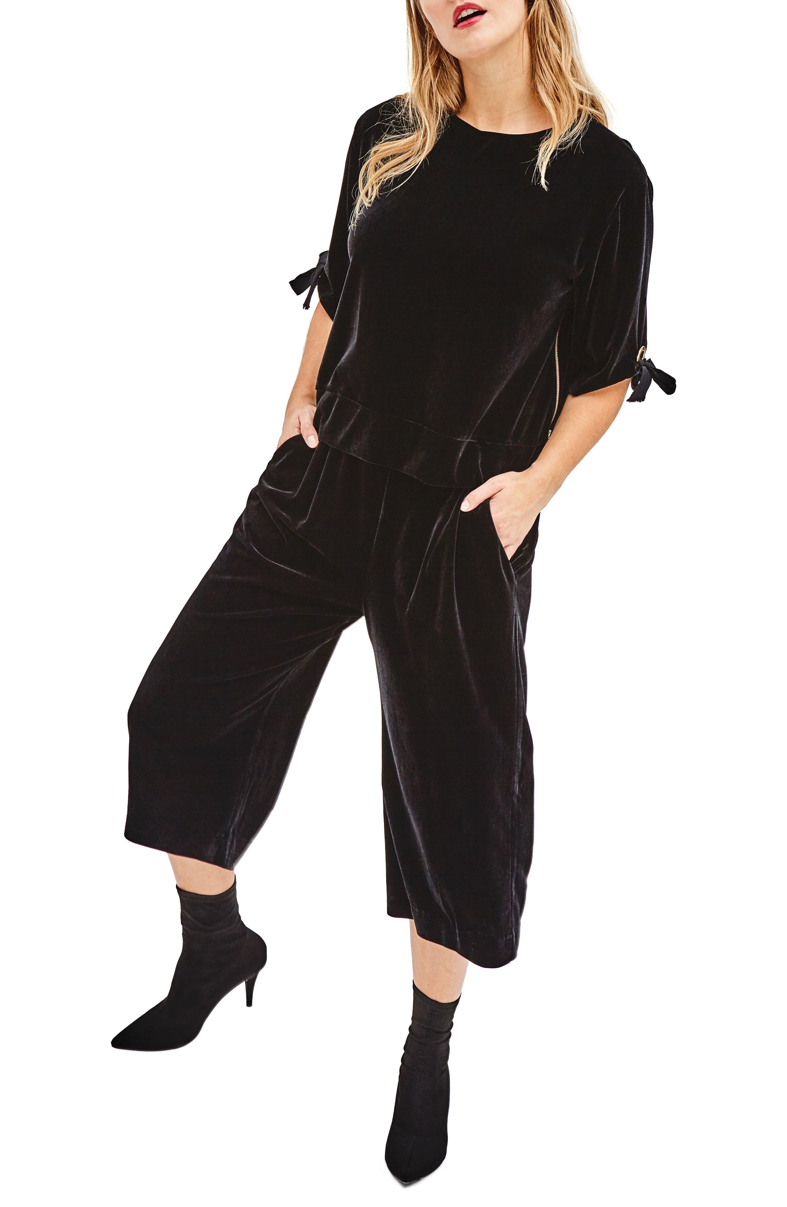Black Velvet Culottes,                         Main,                         color,