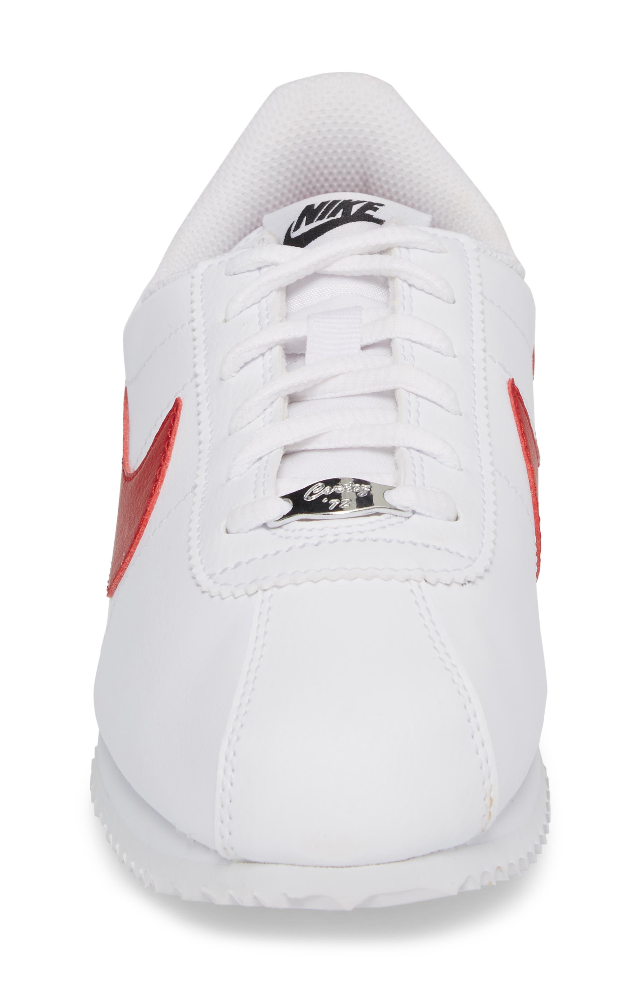 Cortez Basic SL Sneaker,                             Alternate thumbnail 4, color,                             WHITE/ VARSITY RED-ROYAL-BLACK