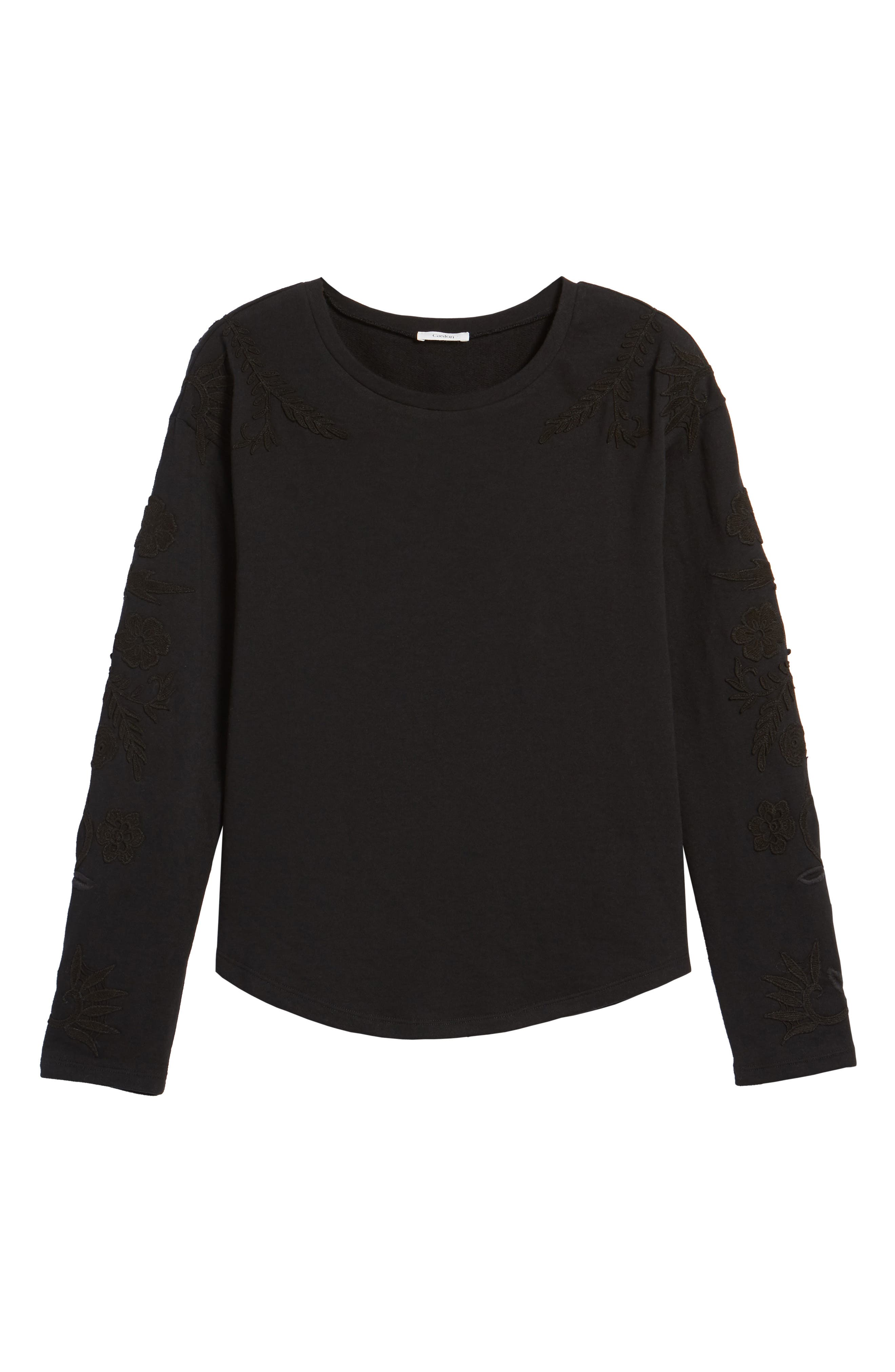 Embroidered Sleeve Sweatshirt,                             Alternate thumbnail 6, color,                             001