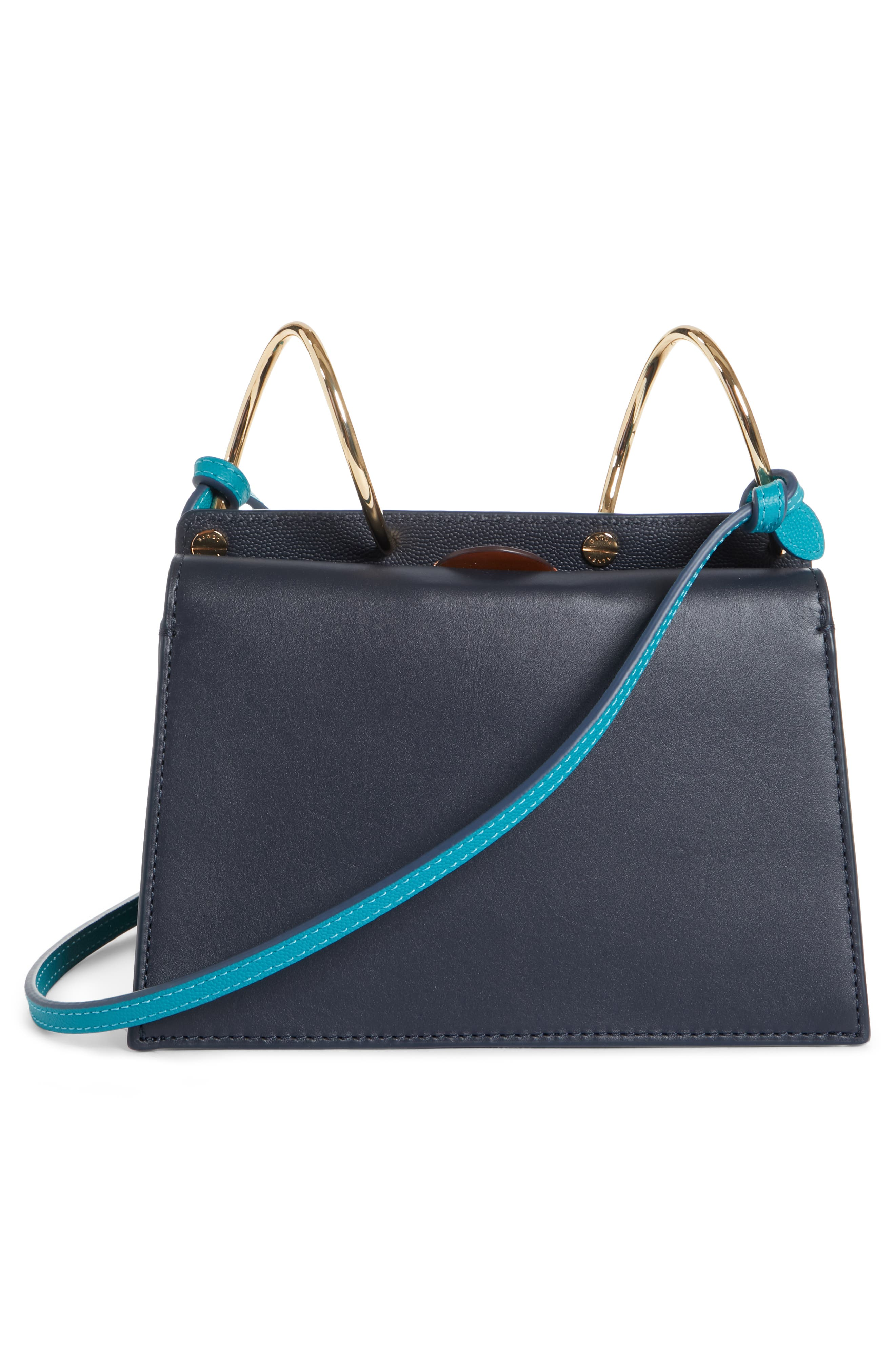 Mini Phoebe Leather Bag,                             Alternate thumbnail 3, color,                             CURLY SHEARLING WHITE-MARINE