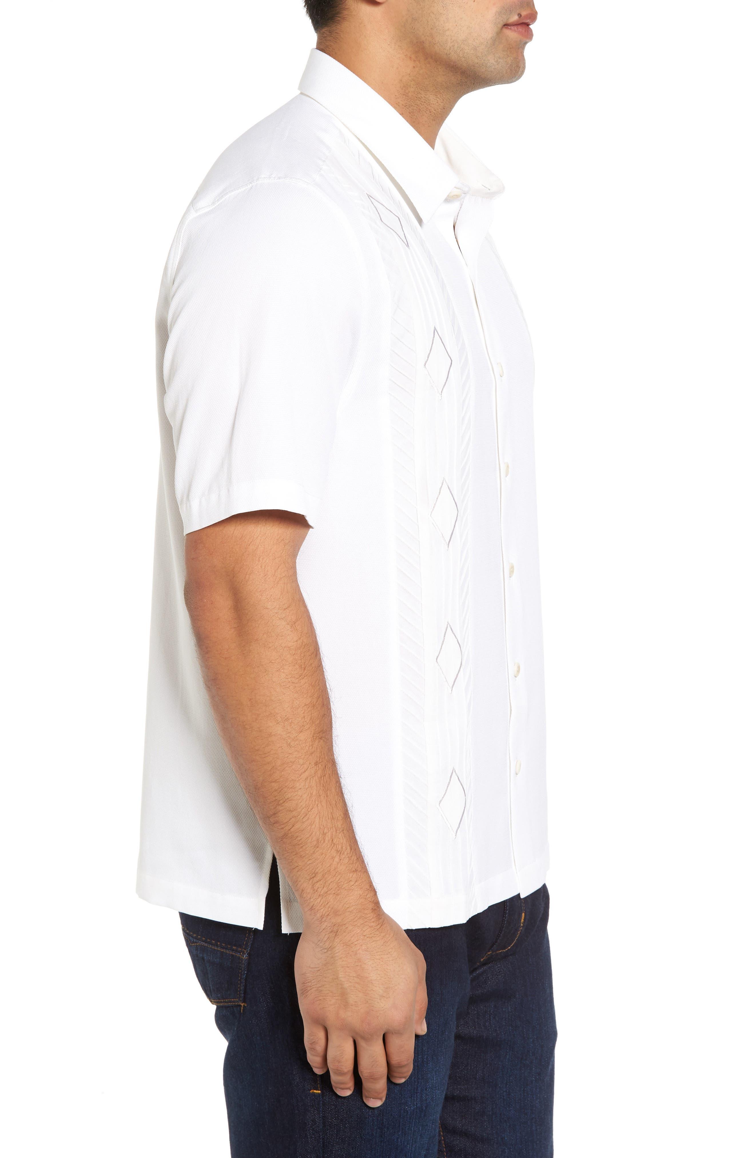 Gondola Embroidered Jacquard Silk Blend Sport Shirt,                             Alternate thumbnail 3, color,